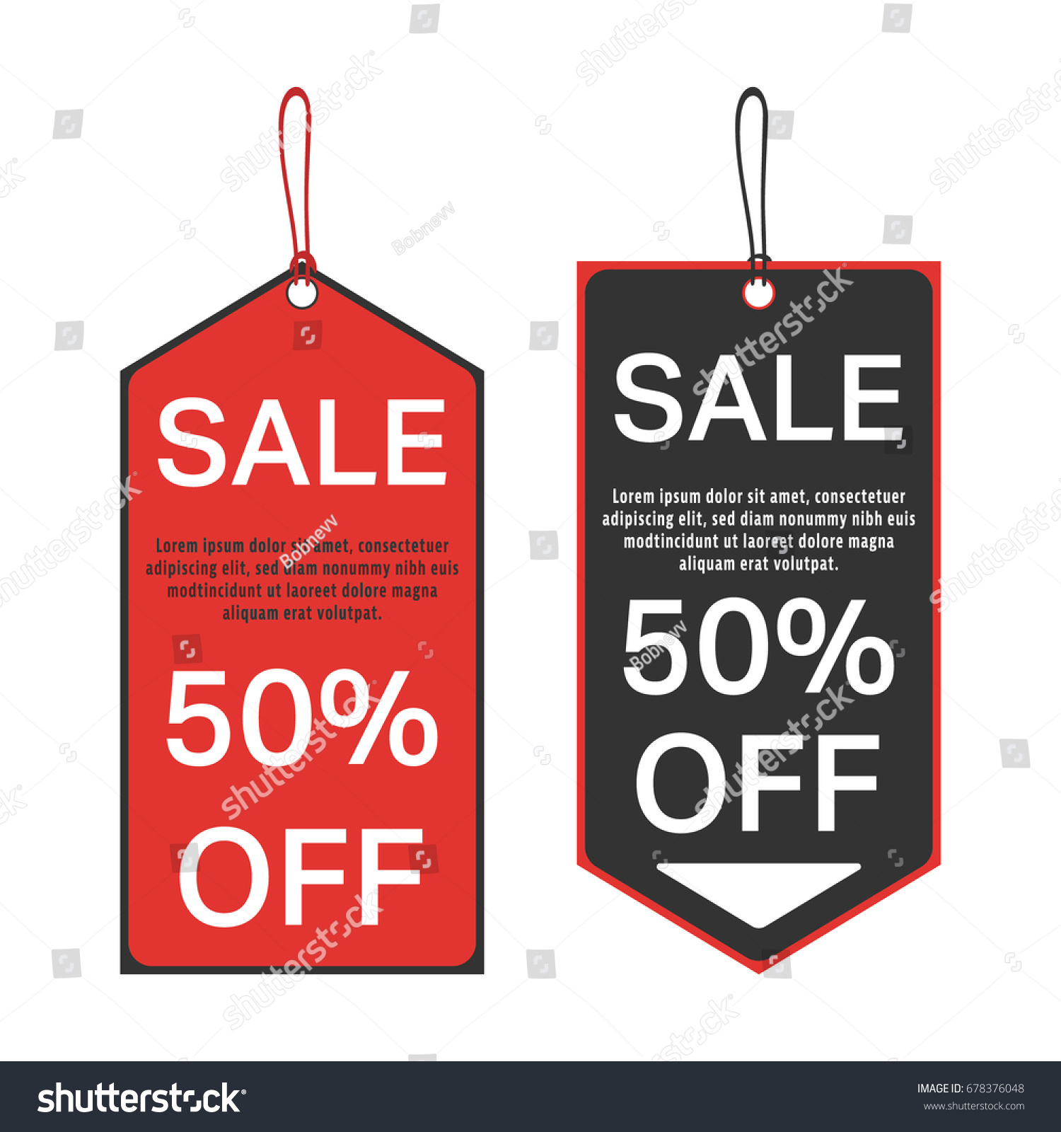 sale tag 50 percent off template special offer sale red and black tags vector