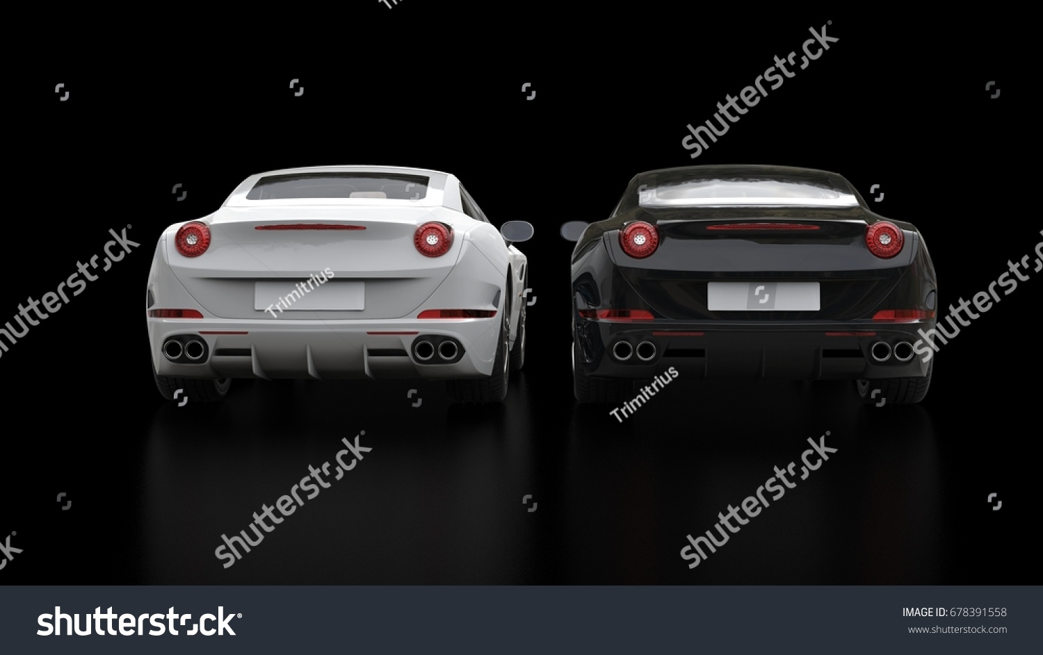 Cool Black And White Super Sports Cars   Back View   3D Illustration