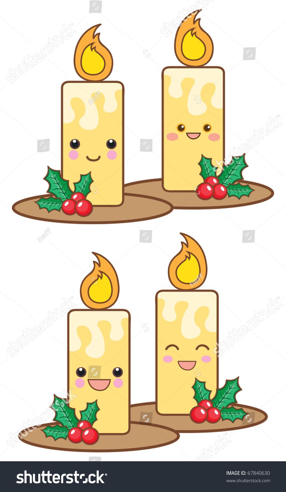 Set Kawaii Christmas Candles Stock Vector (Royalty Free) 67840630 ...
