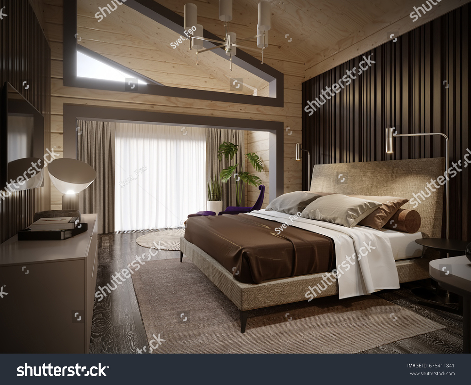 Urban Contemporary Modern Classic Traditional Hotel Bedroom Interior Design  in wooden house with blockhouse walls. Urban Contemporary Modern Classic Traditional Hotel Stock