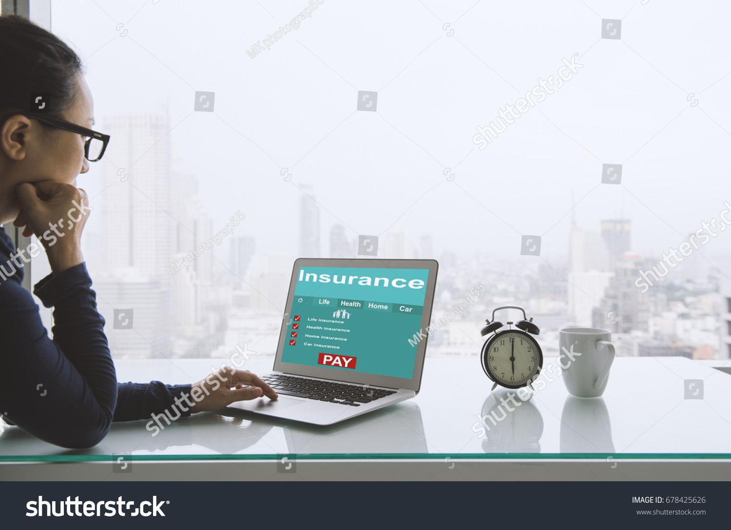 Insurance Concept Women Use Laptops Search Stock Photo 678425626 ...