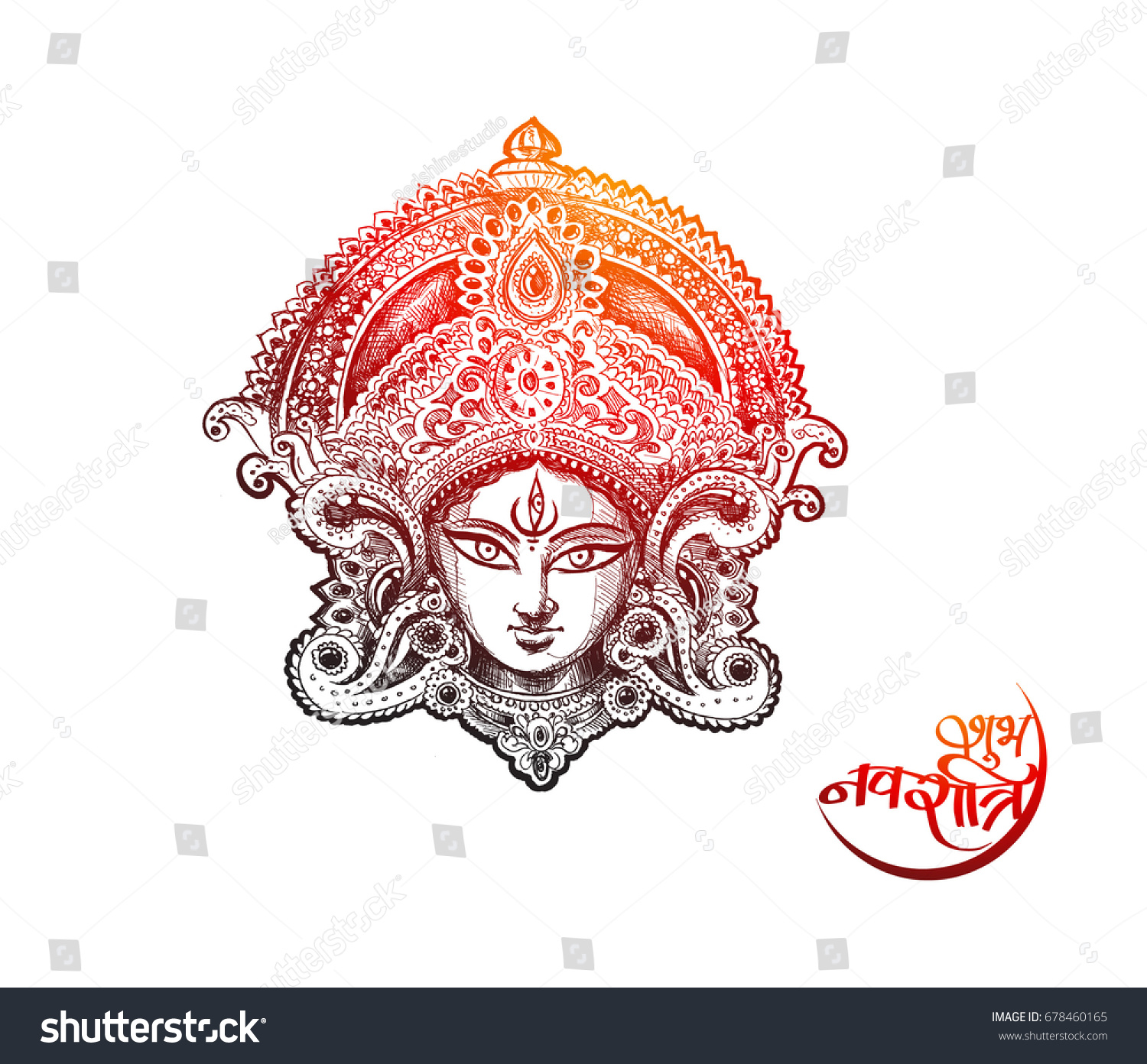 Happy navratri vector illustration based on beautiful background with maa durga face and kalash