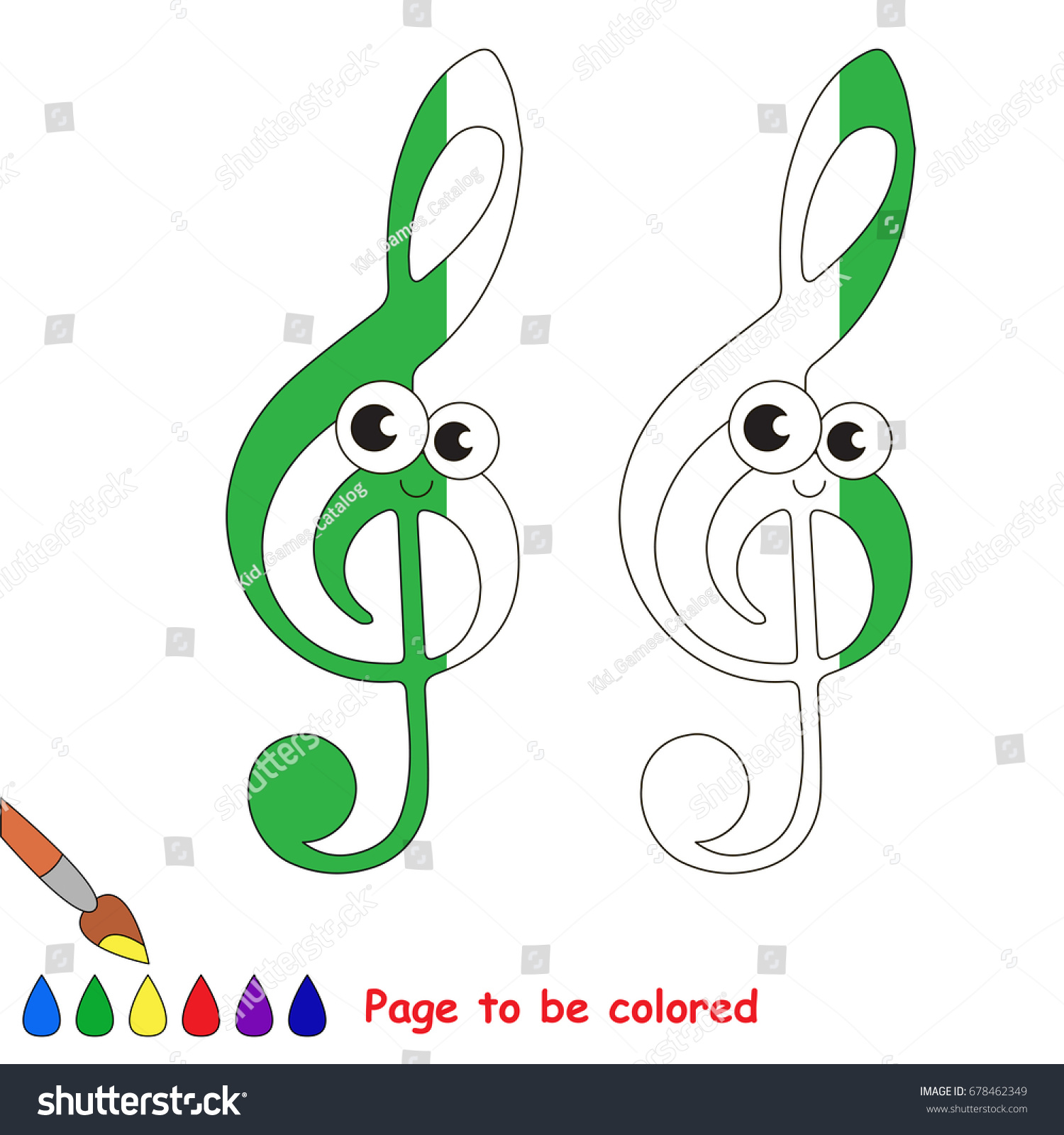 Funny Green Treble Clef Coloring Book Stock Vector 678462349 ...
