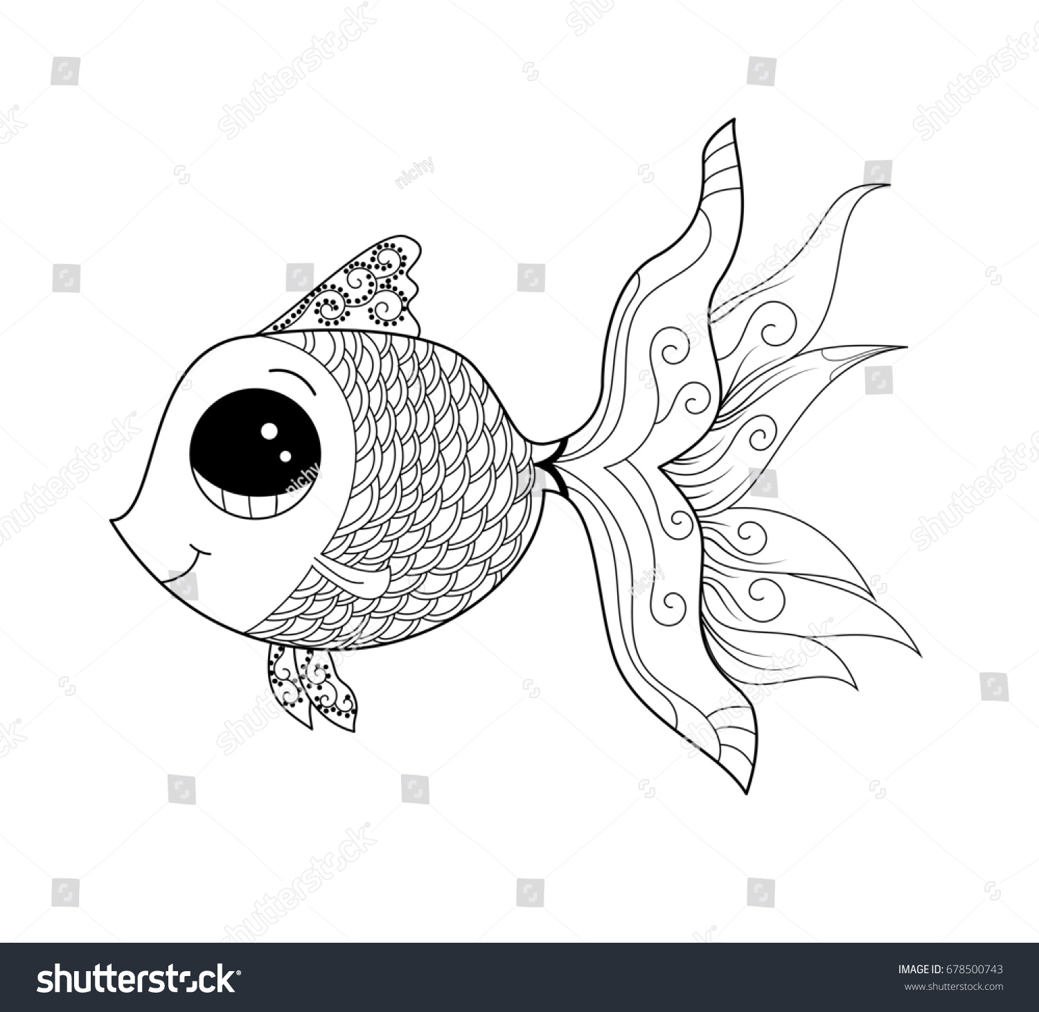 Goldfish Coloring Page Adult Child Vector Stock 678500743