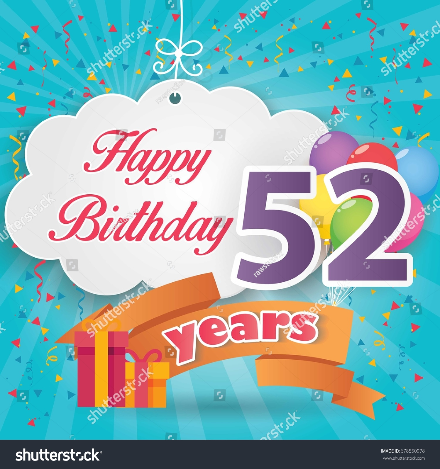 52 Nd Birthday Celebration Greeting Card Origami Paper Art Design Party Poster Background With