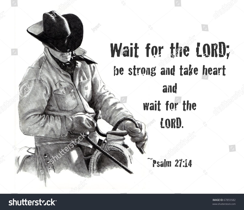Bible Verse Pencil Drawing Cowboy Stock Illustration ...