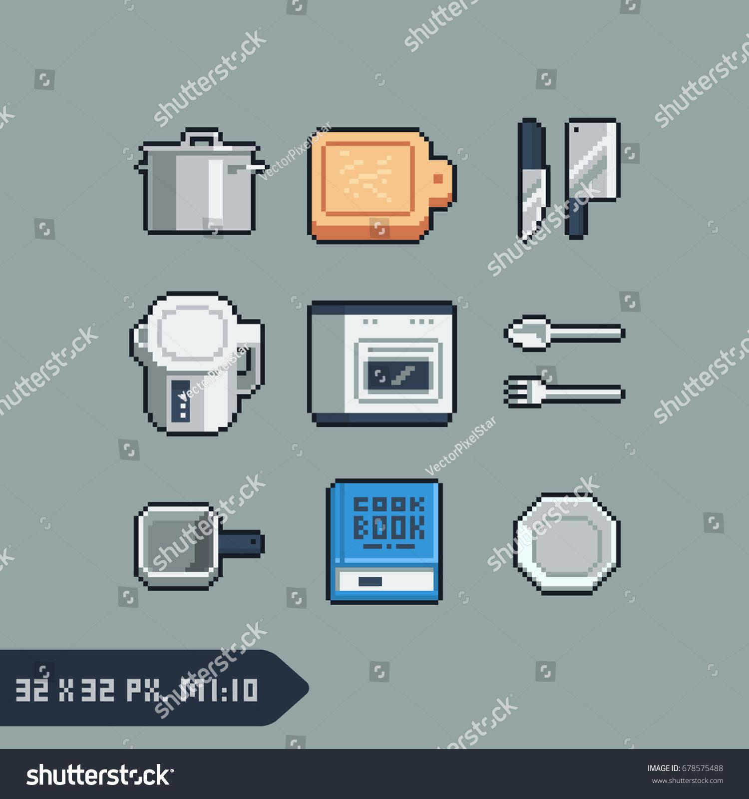 Set Kitchen Utensils Tools Icons Pixel Stock Vector (Royalty Free ...