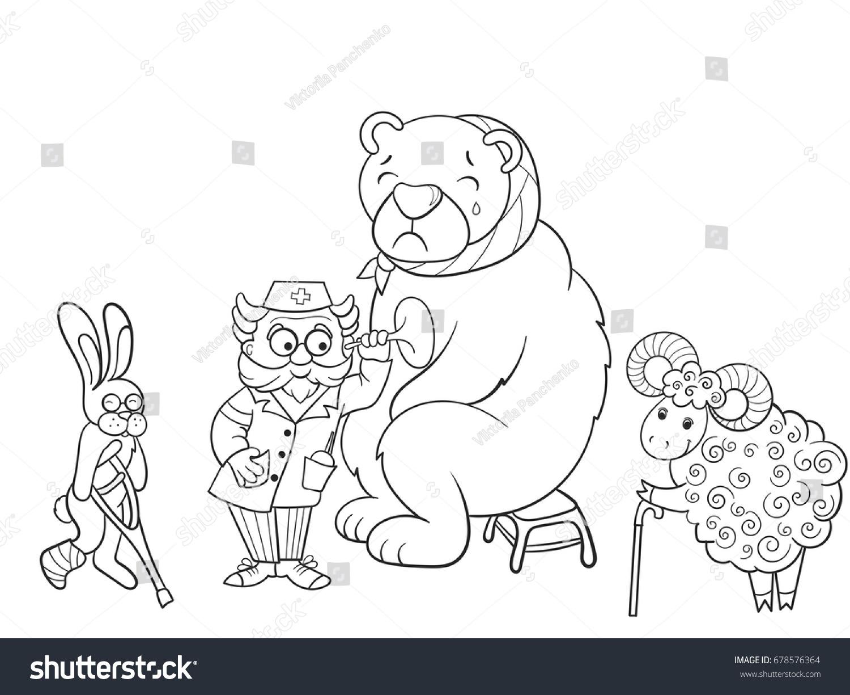 Veterinarian Treats Animals Forest Object Raster Stock Illustration ...