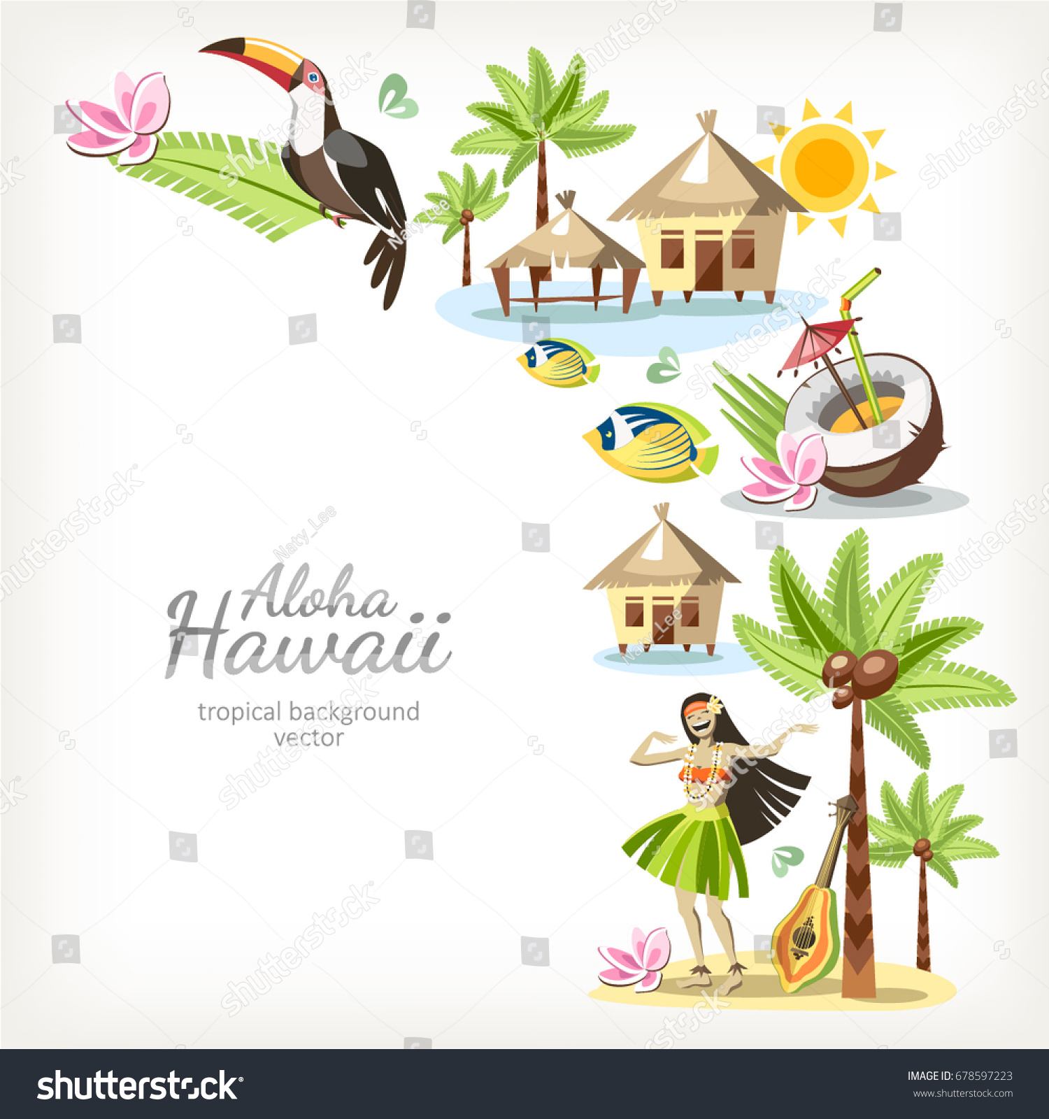 Hawaii Aloha Background Banner Frame Border Stock Vector (Royalty ...