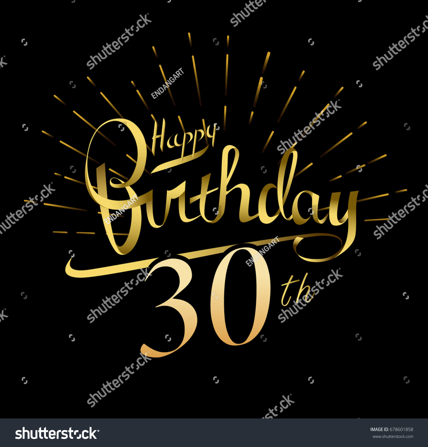 30th Happy Birthday logo. Beautiful greeting card poster with calligraphy Word gold fireworks. Hand