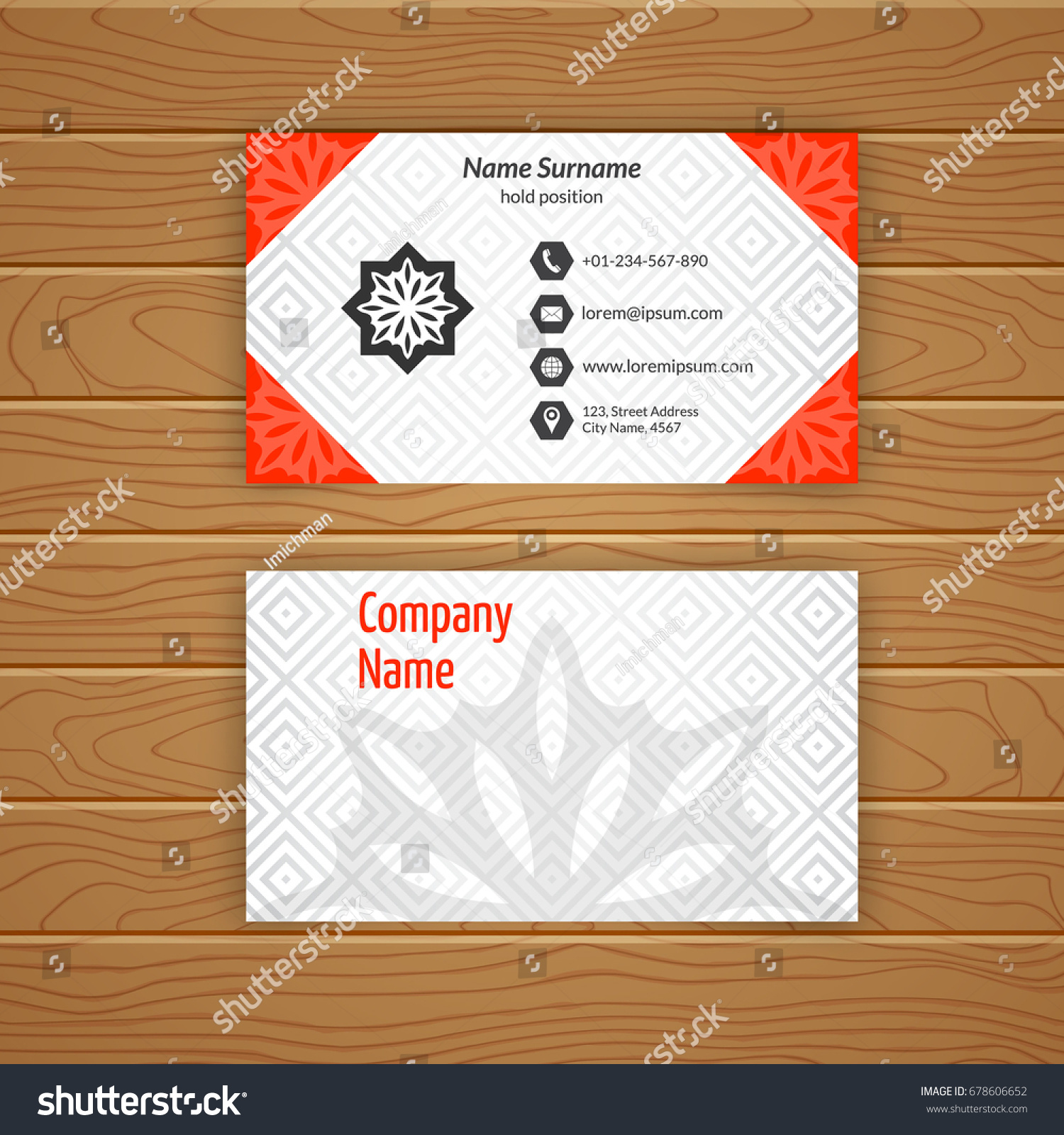 Business card blank template textured background stock vector business card blank template with textured background from diamond tiles minimal elegant vector design wajeb Choice Image