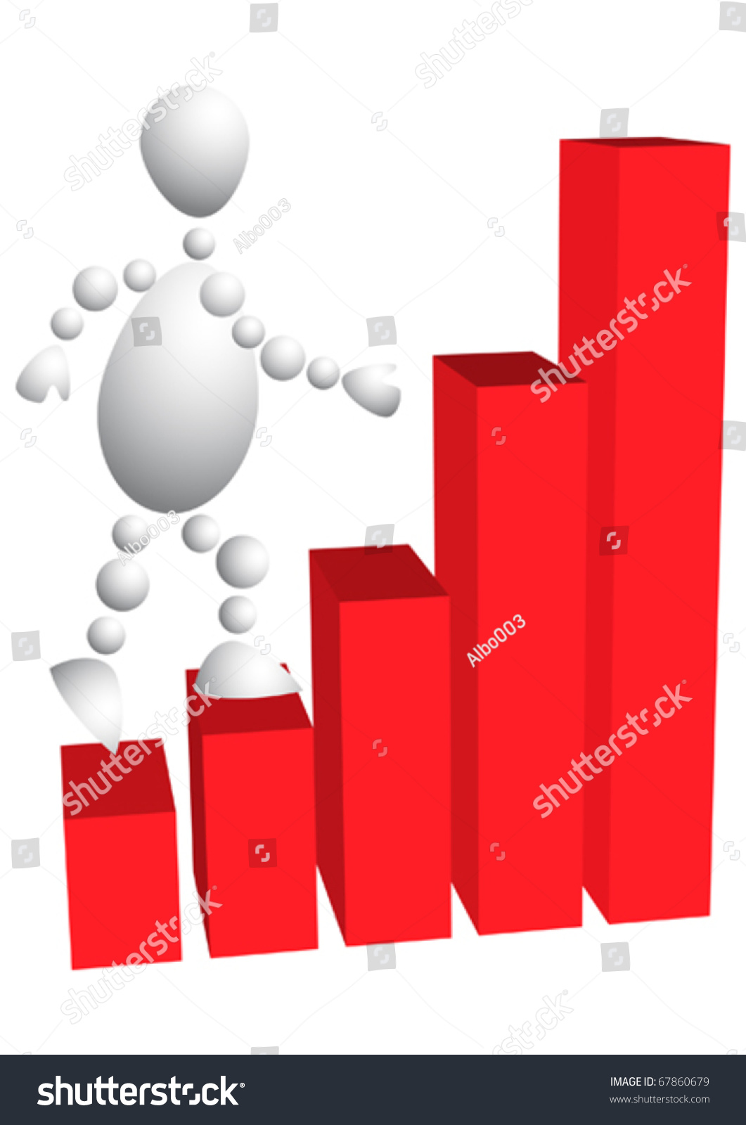 man climbs the stairs as red diagram abstract 3d human. Black Bedroom Furniture Sets. Home Design Ideas