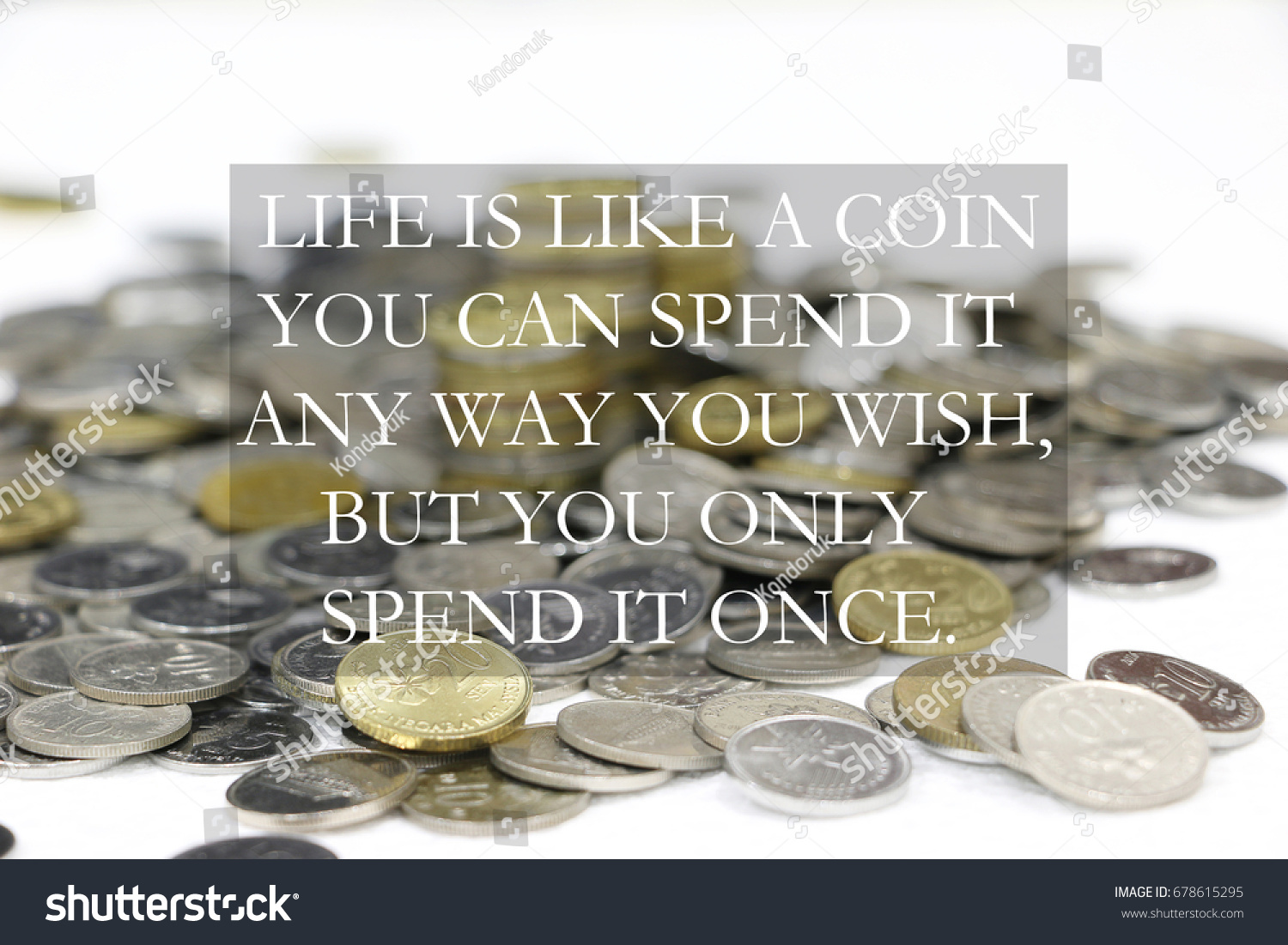 Blurry Stacked Coins Inspirational Quote Life Stock Photo Edit Now