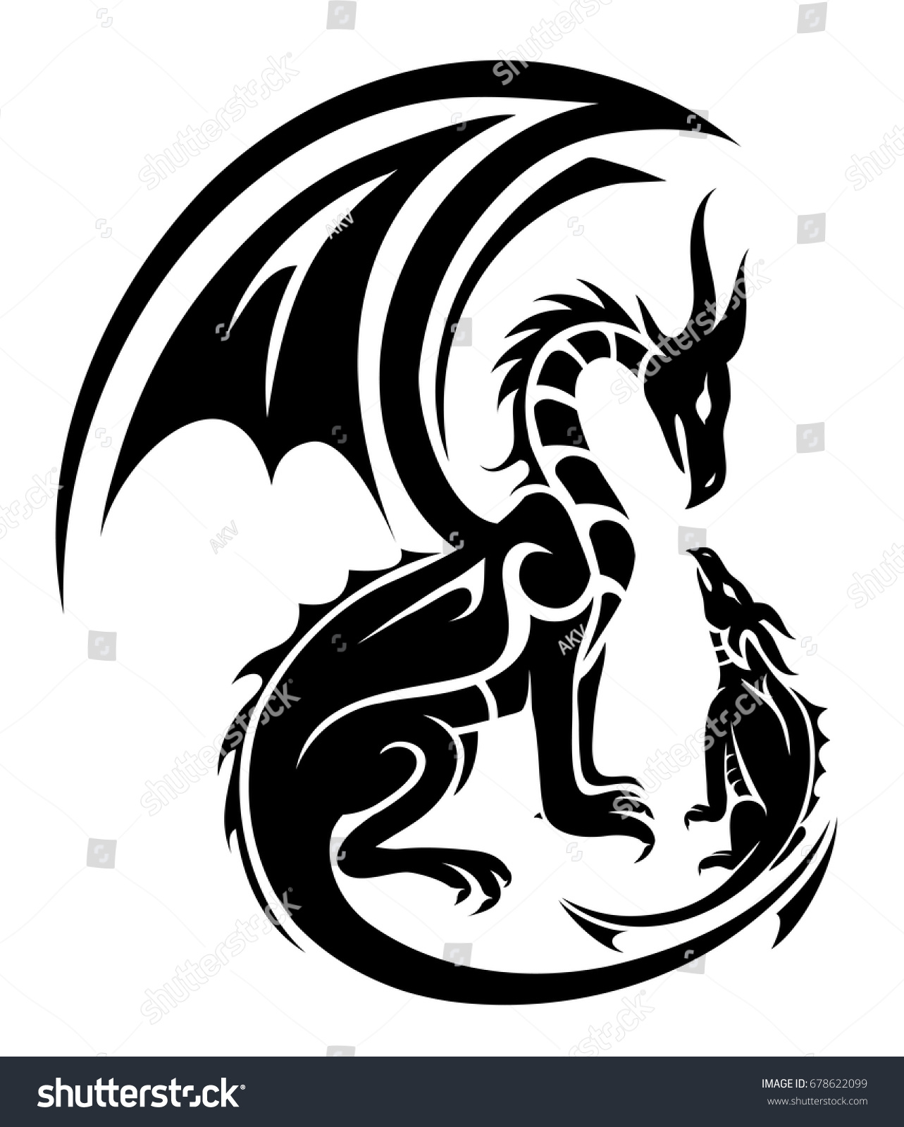 Two Dragons Tattoo Mother Child Concept Stock Vector Royalty Free