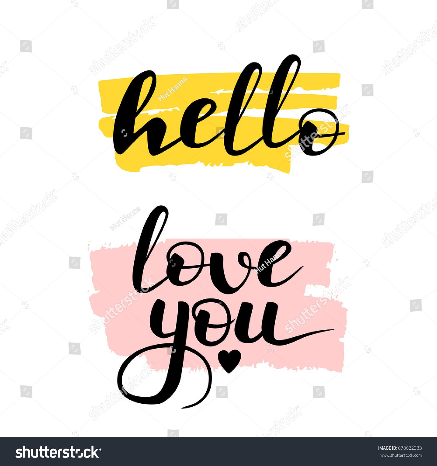 Captivating Hand Written Lettering Hello And Love You. Black, Pink And Yellow Greeting  Calligraphy Quotes Awesome Design
