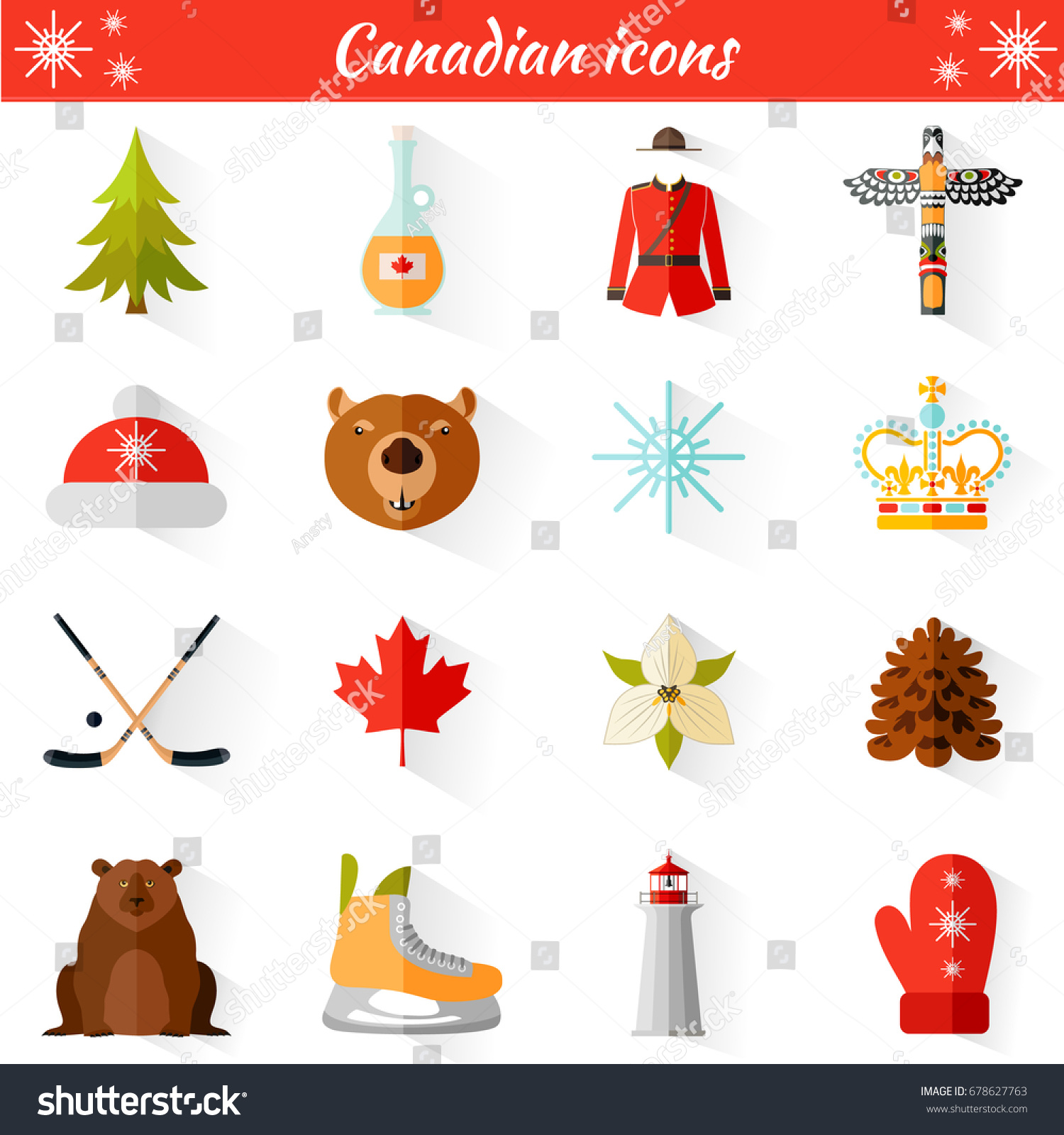 Set Vector Travel Canadian Web Icons Stock Vector ...