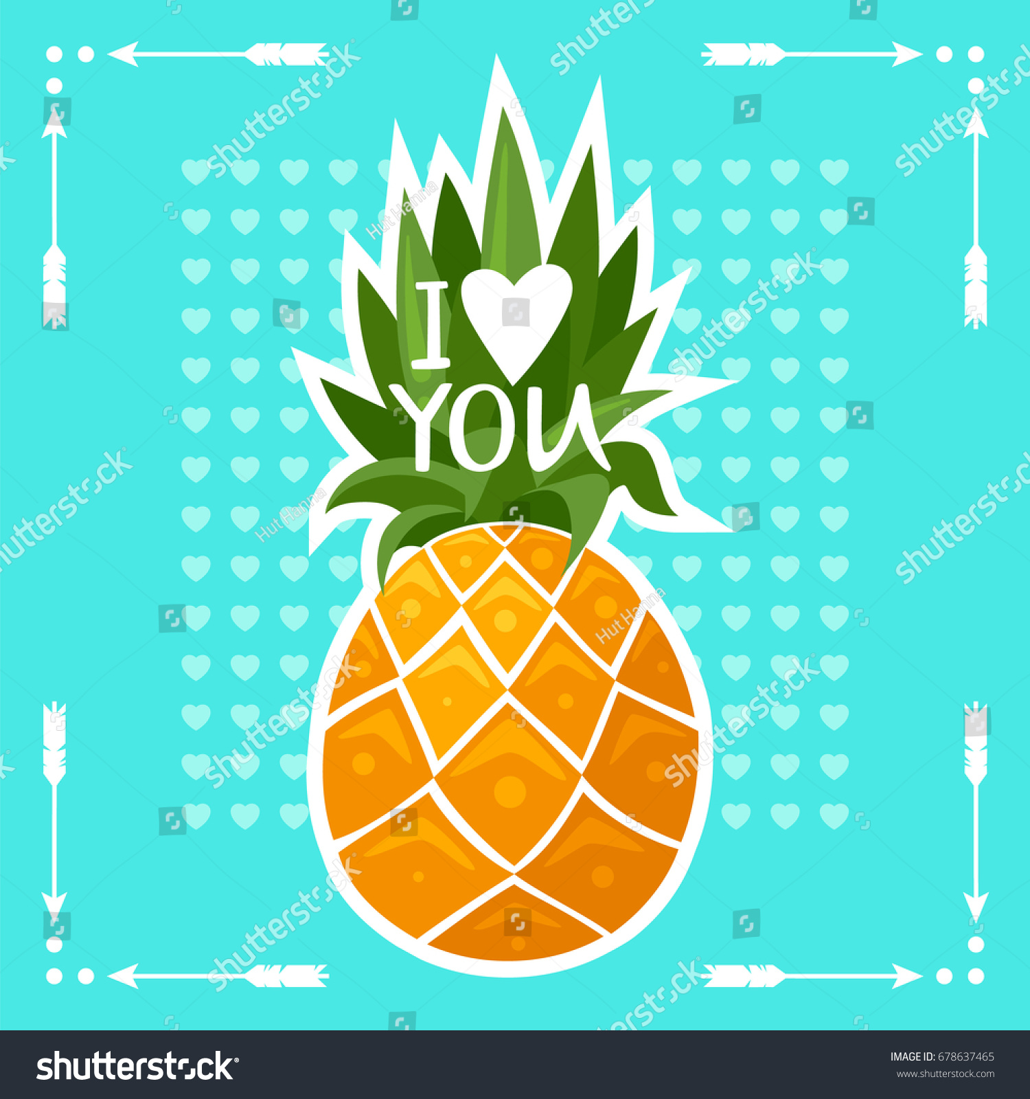 Image Pineapple Tropical Fruit Typography Design Stock Vector