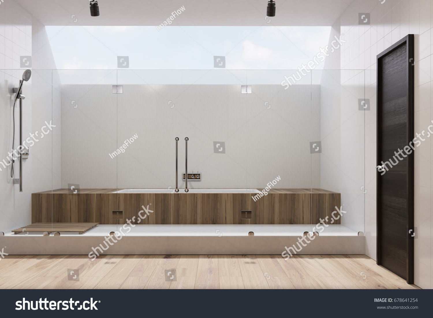 White Tiled Bathroom Interior Wooden Cabinets Stock Illustration ...