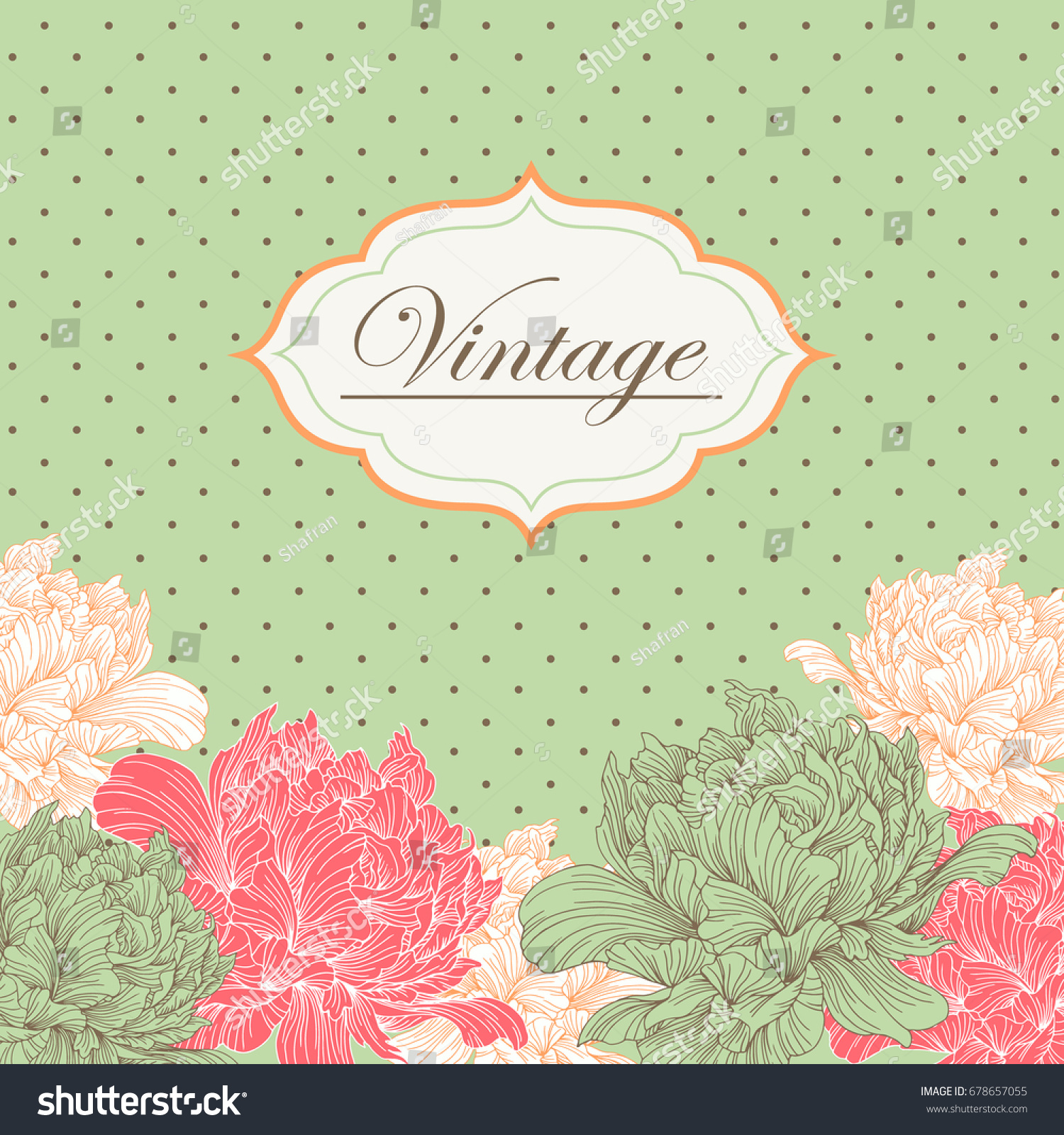 Vintage Card Invitation Abstract Peonies Floral Stock Photo (Photo ...