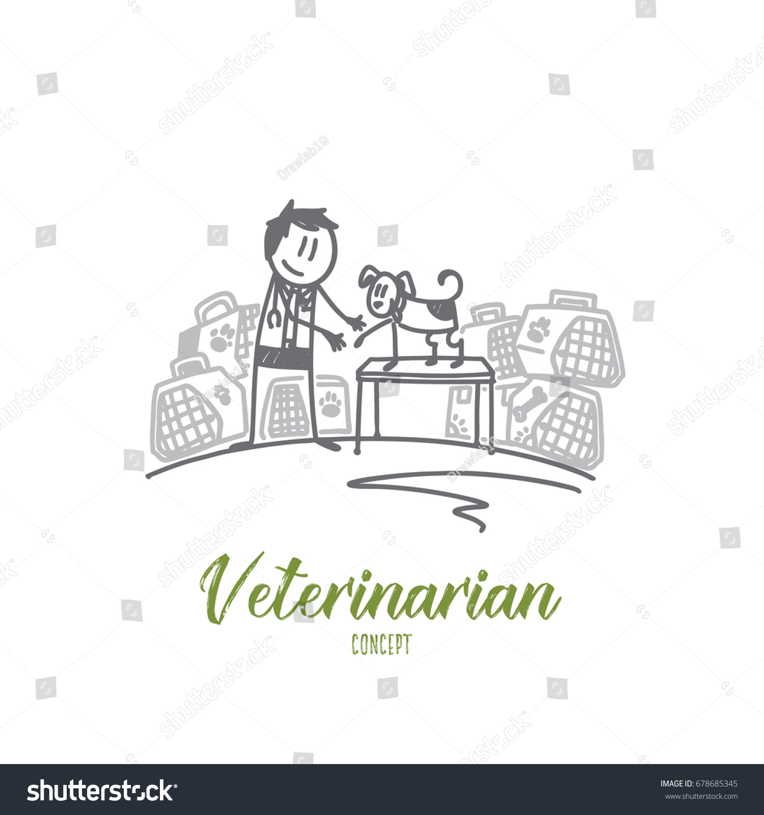 veterinarian concept hand drawn veterinarian uniform stock vector