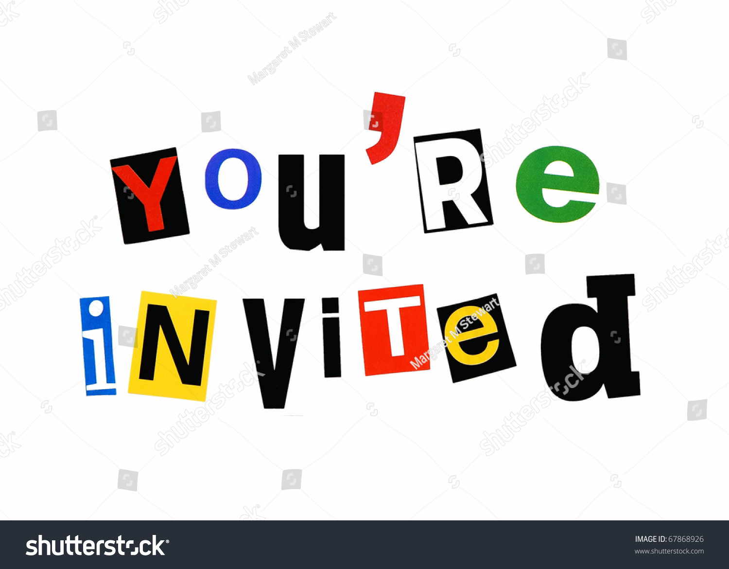 Youre Invited Written Colorful Mix Cutout Stock Photo