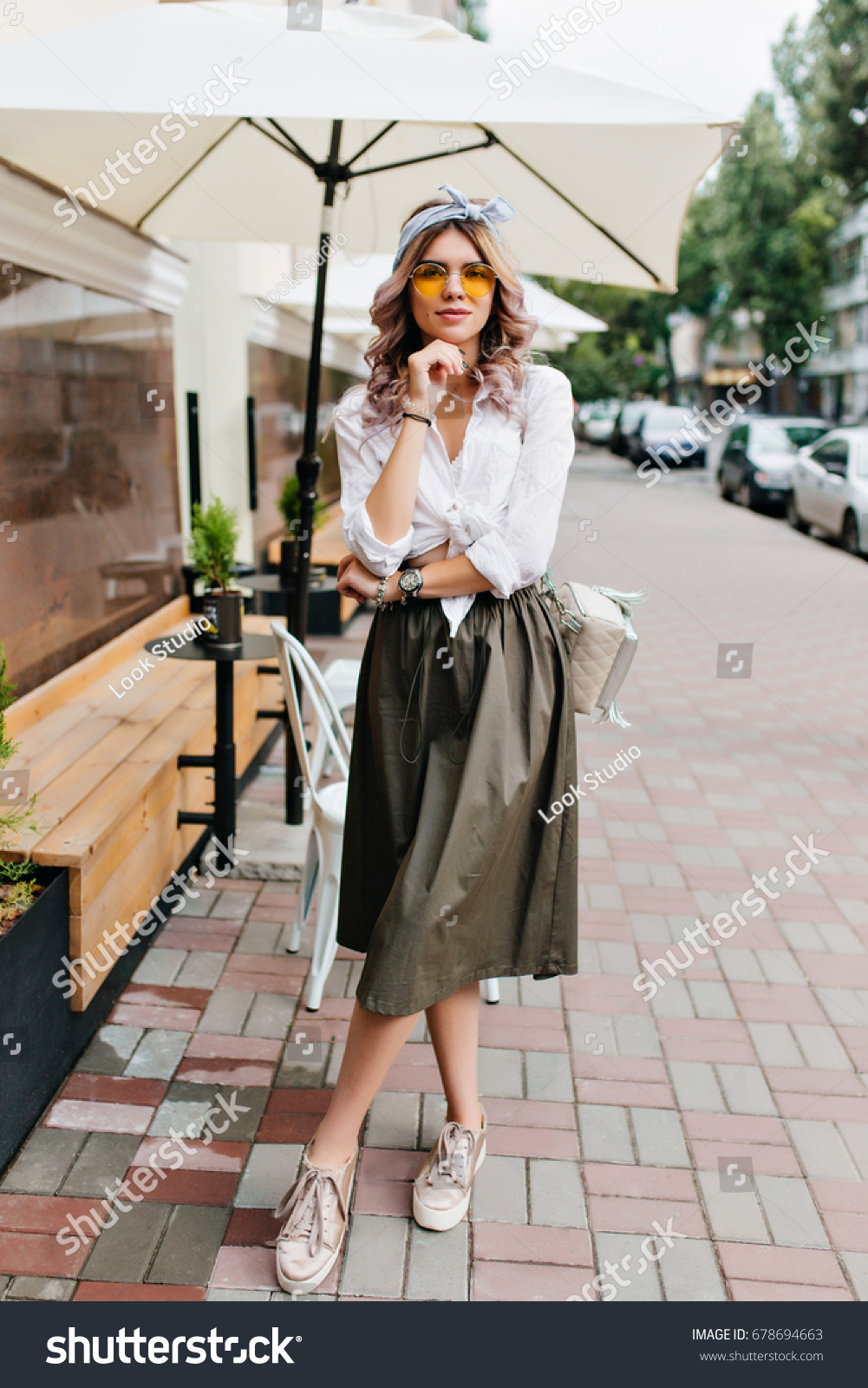 Fulllength Portrait Romantic Girl Midi Skirt Stock Photo Edit Now