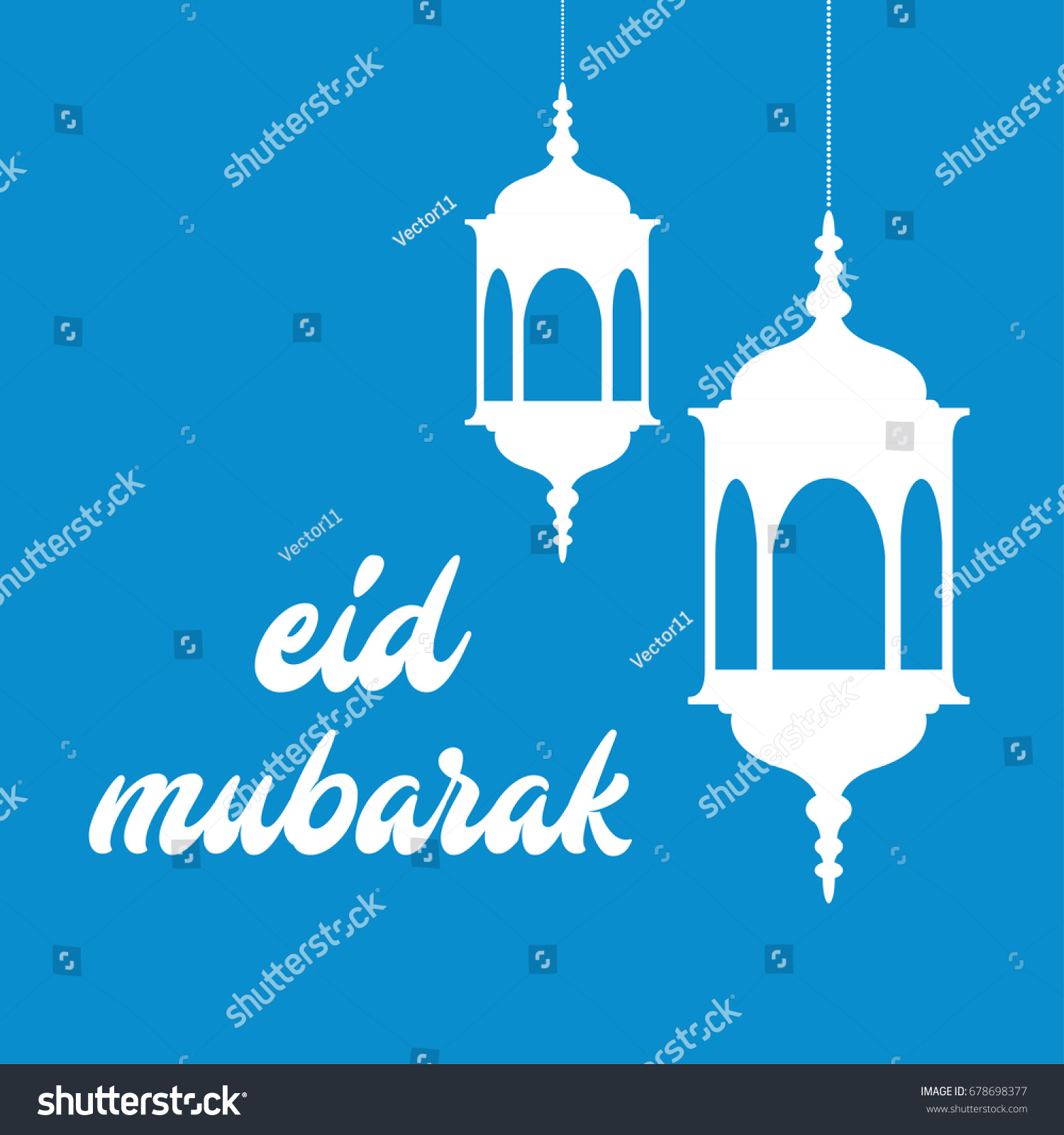 Eid Mubarak Greeting Card Template Arabic Vector Stock Vector