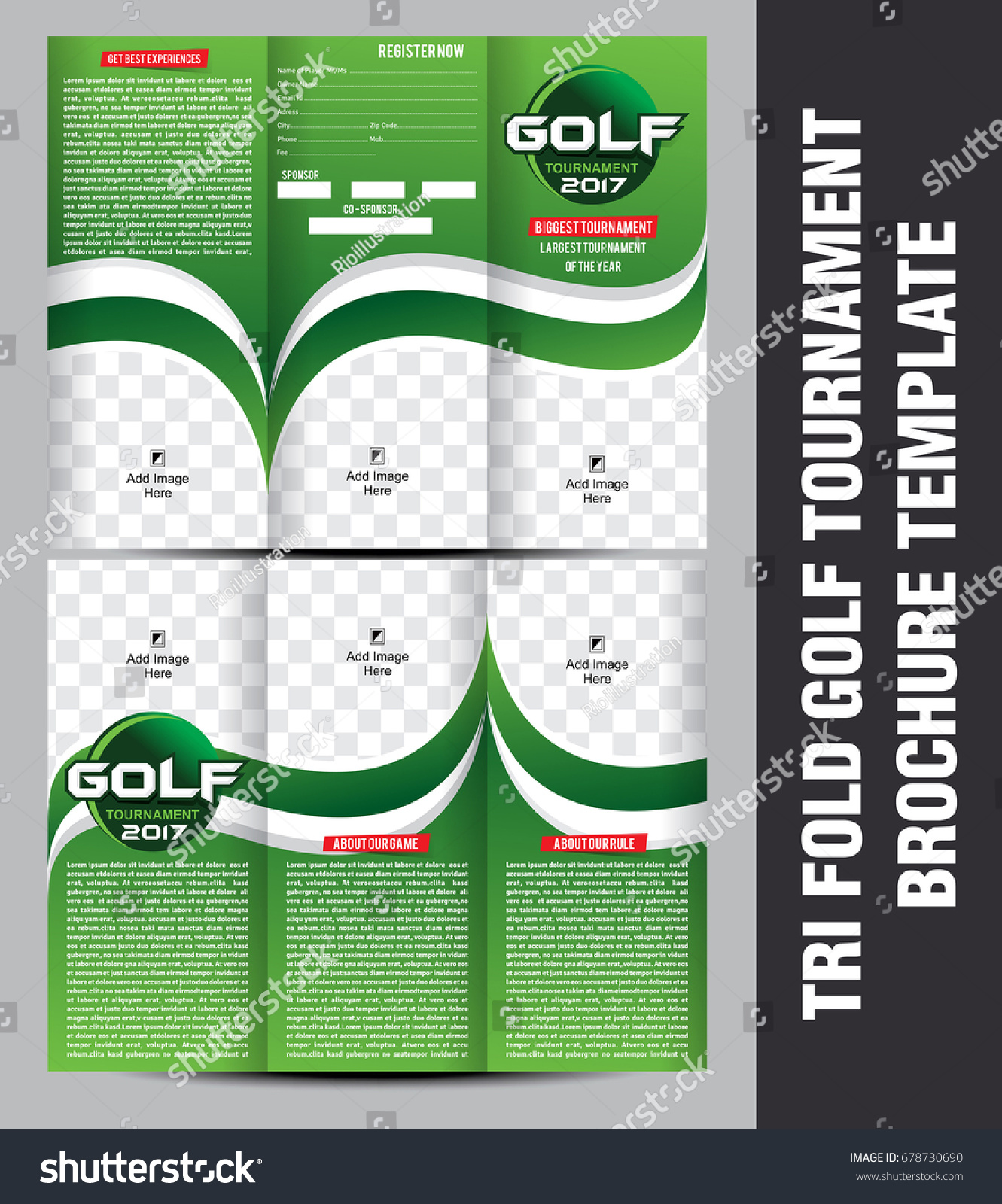 Tri Fold Golf Tournament Brochure Template Vector Illustration