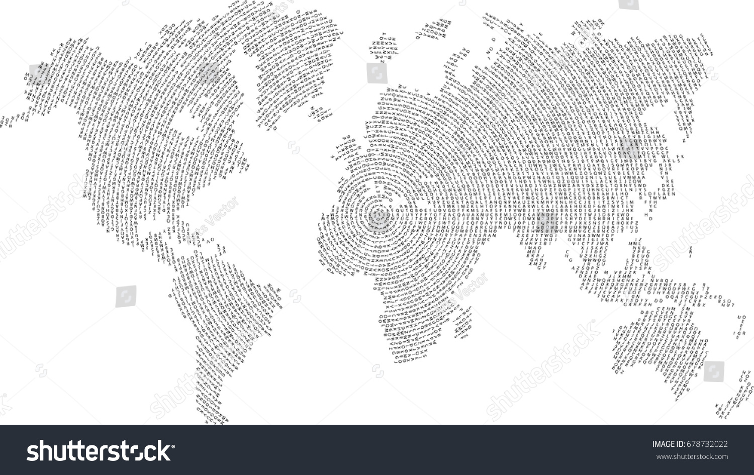 Line Art Letters : World map letters vector background stock