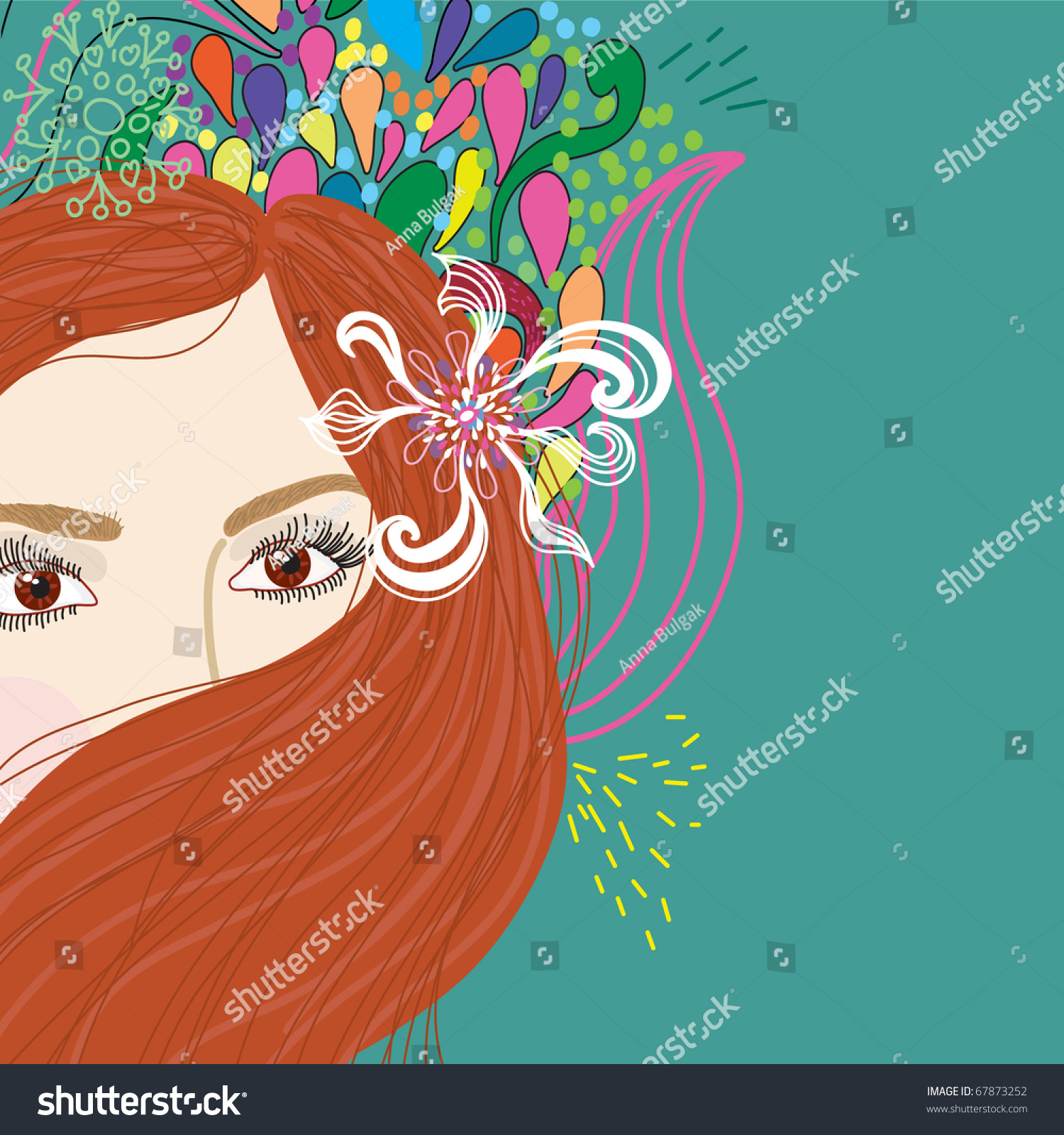 Beautiful woman cartoon flowers background stock vector royalty beautiful woman with cartoon flowers background izmirmasajfo
