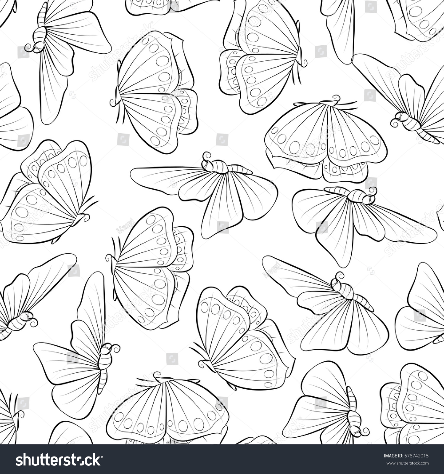 Flight Of The Butterfly Coloring Book Seamless Pattern Background With Insect Vector Illustration