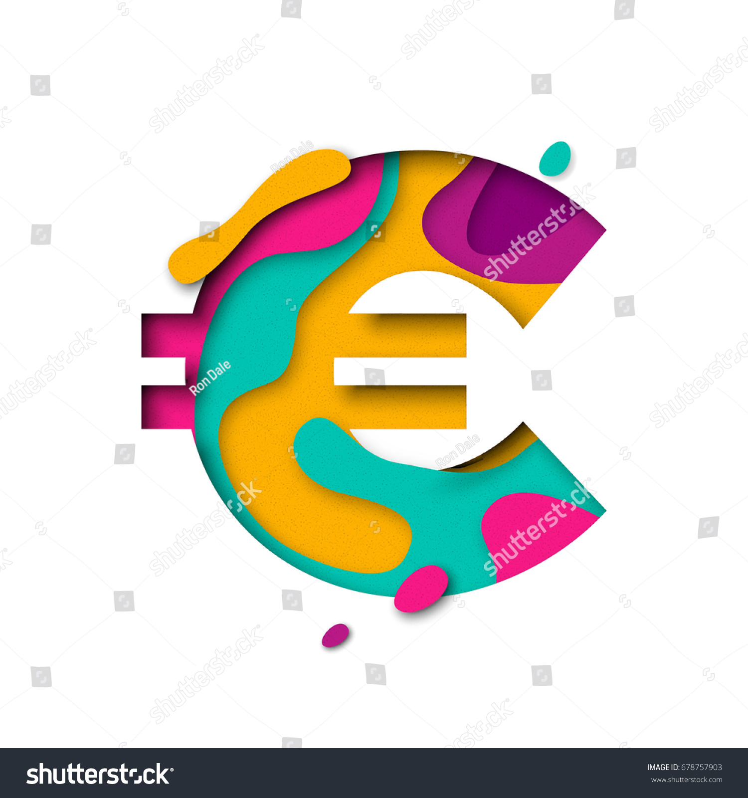 Euro Symbol Currency Sign Paper Cut Stock Vector 678757903