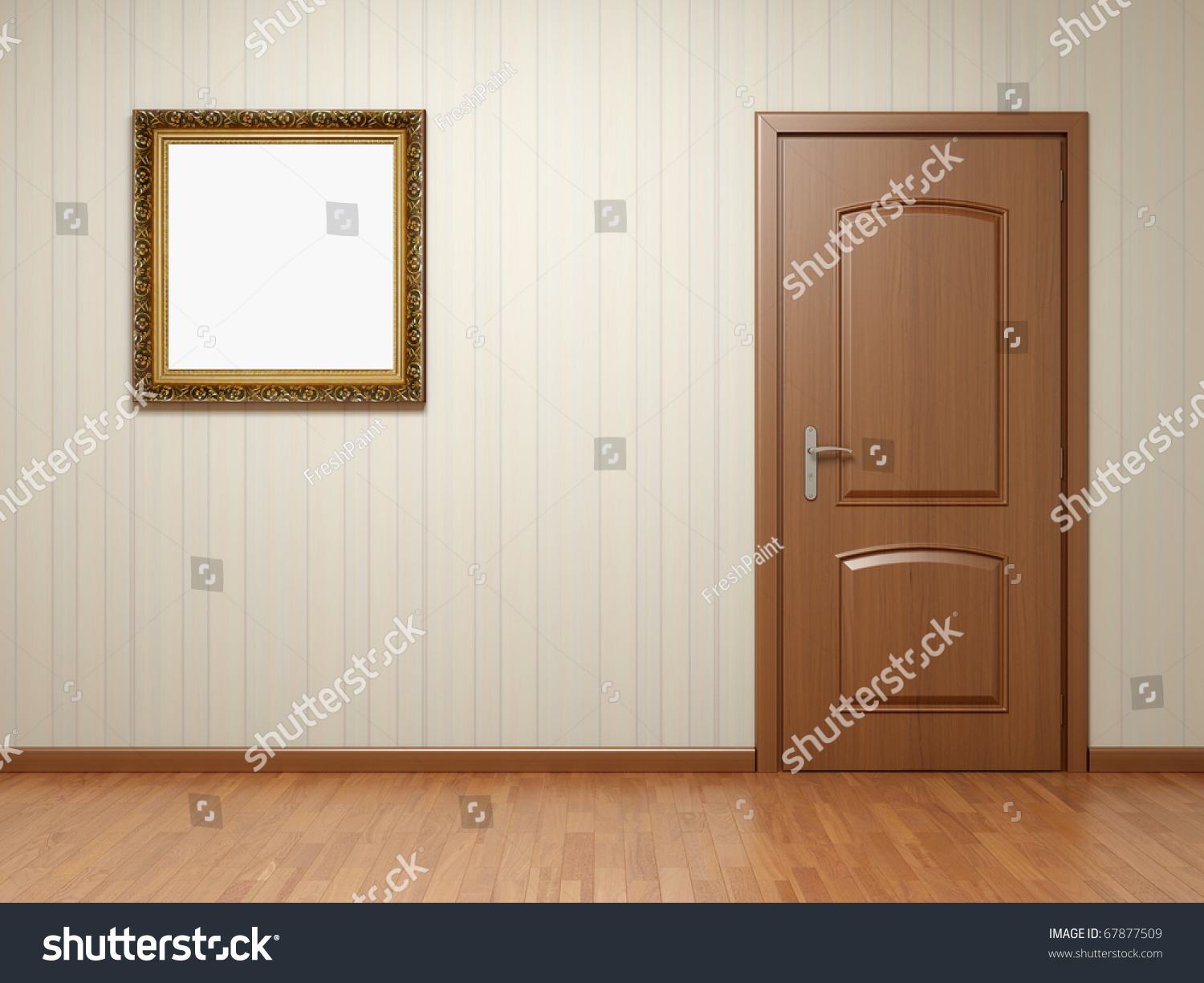 Empty room with wooden door and frame on striped wallpaper for Room door frame