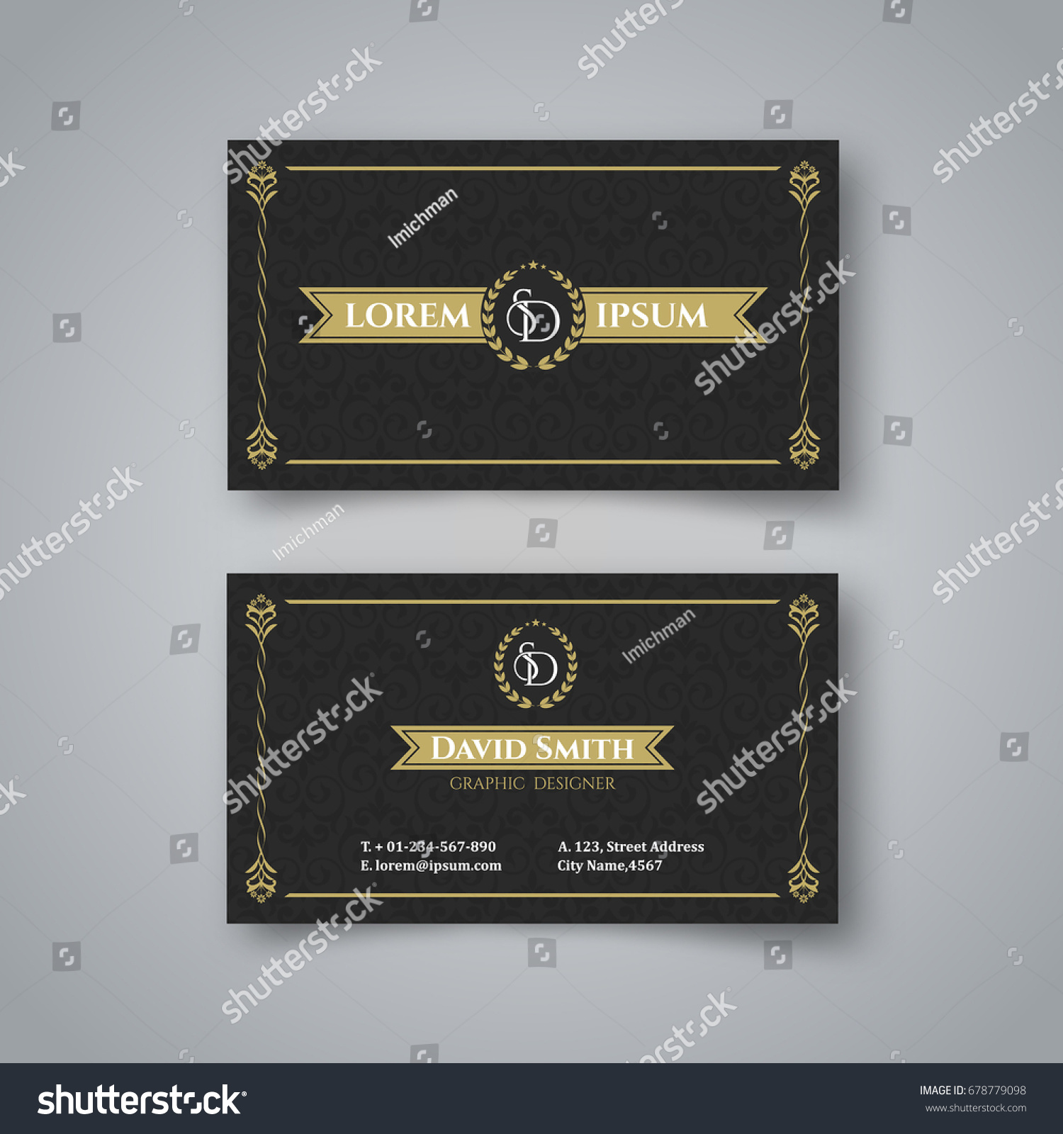 Template Blank Vintage Business Card On Stock Vector 678779098 ...