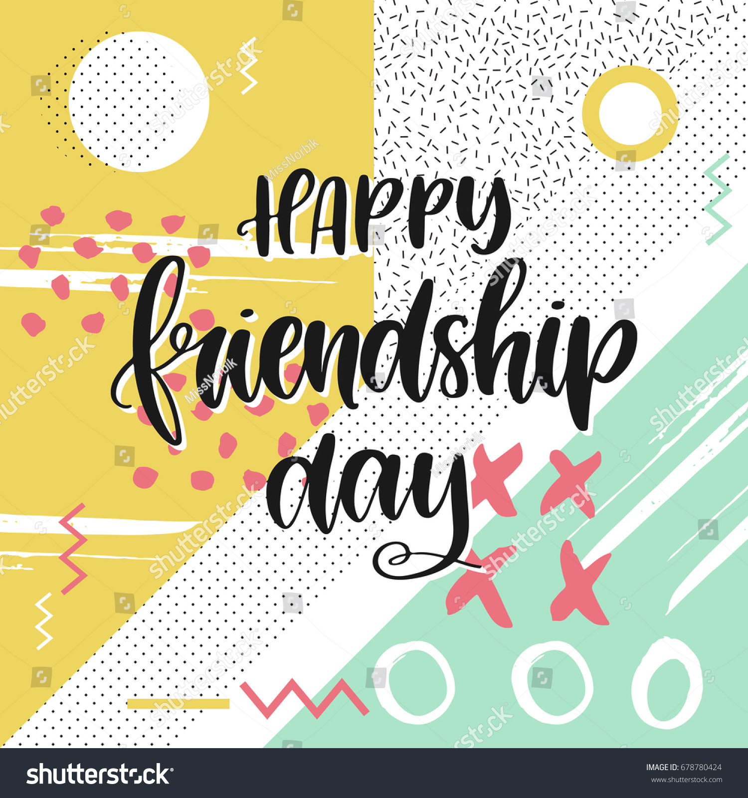 Vector hand drawn greeting card happy stock vector 678780424 vector hand drawn greeting card happy friendship day hand lettering poster kristyandbryce Gallery