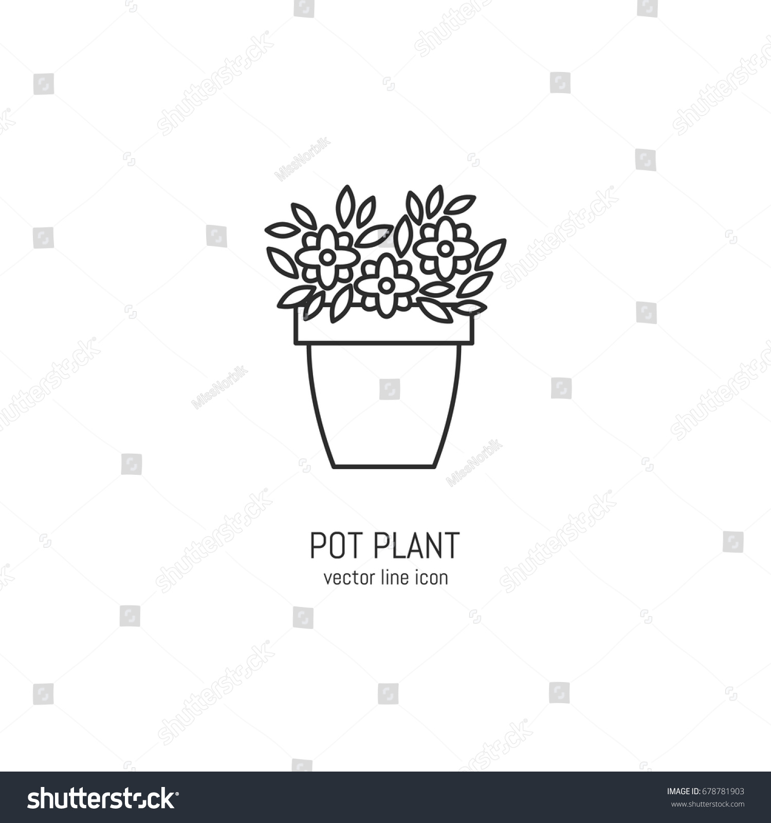 Vector flower pot icon trendy linear stock vector 678781903 vector flower pot icon in trendy linear style ccuart Choice Image