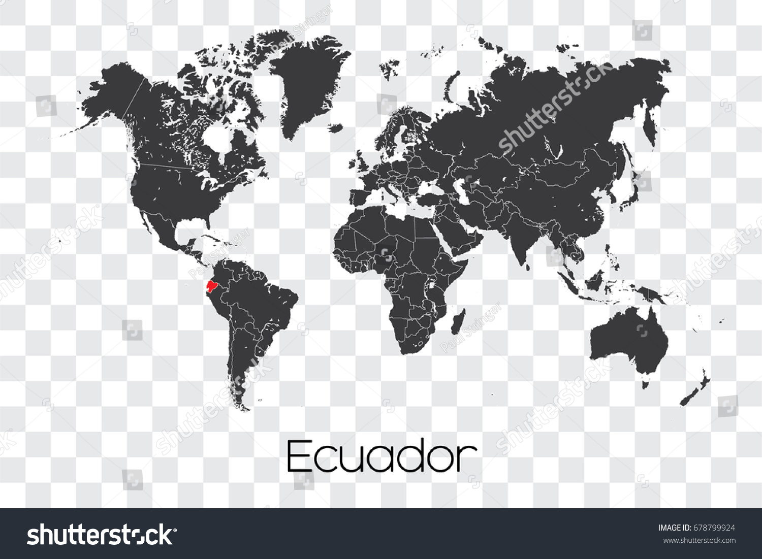 Map World Selected Country Ecuador Stock Vector 678799924
