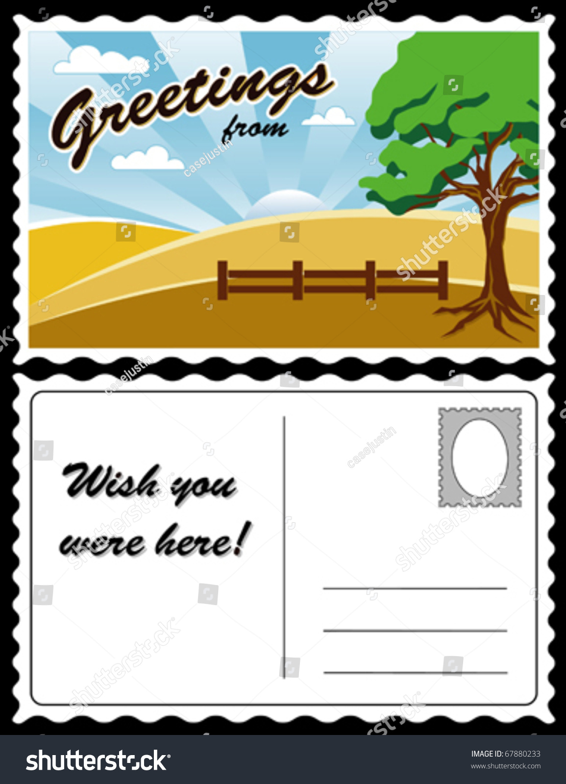 Travel Postcard Country Landscape Hills Fence Fields Tree Full Size