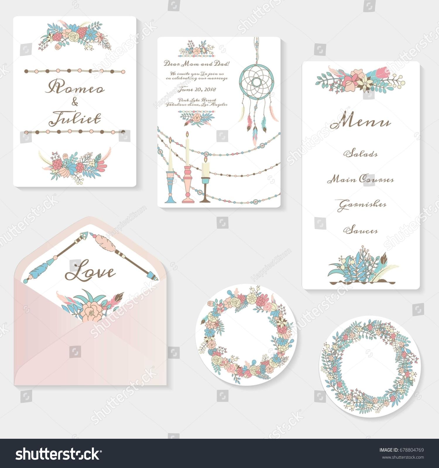 Wedding Invitation Cards Suite Tender Garden Stock Vector Royalty