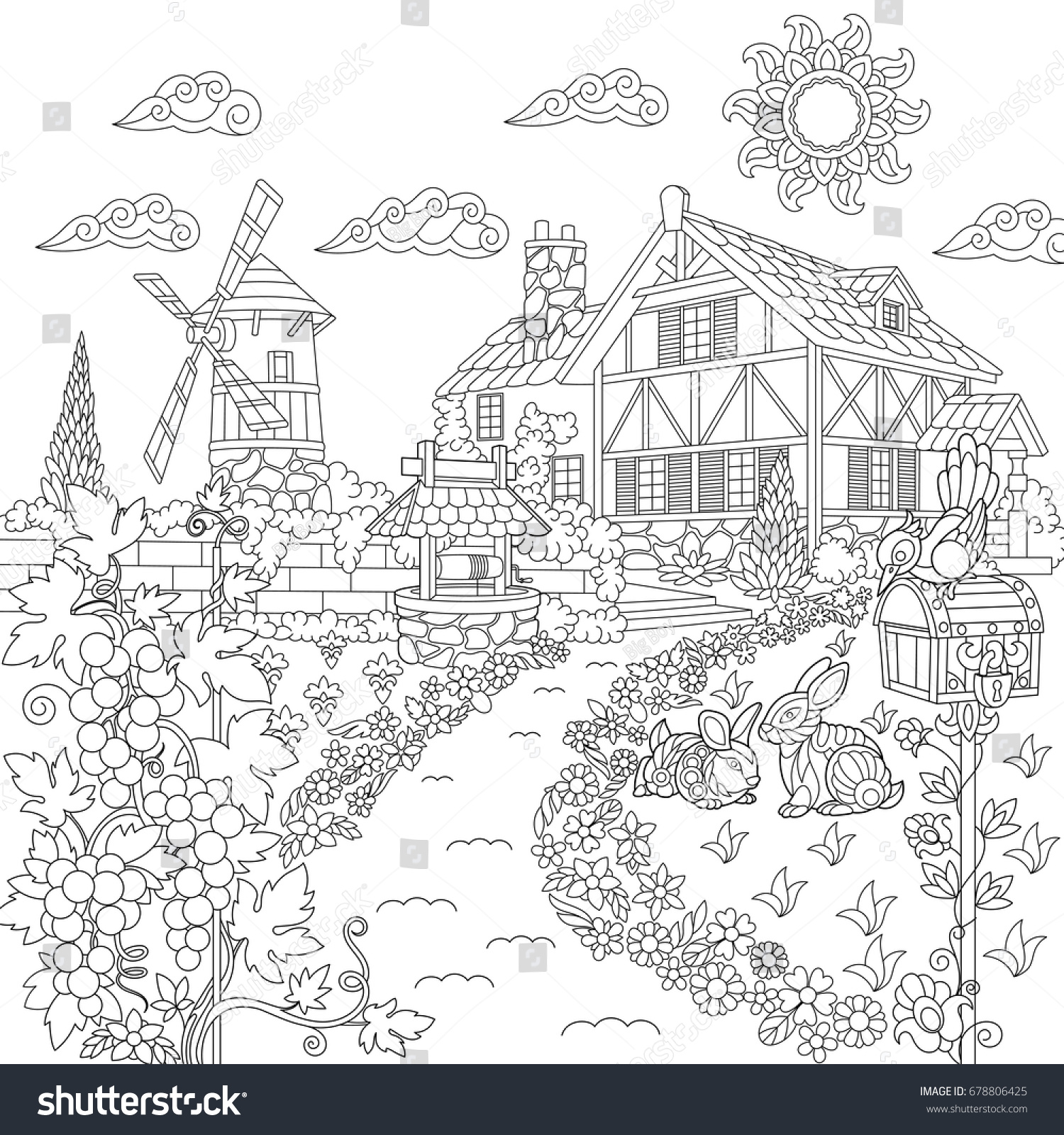 Coloring Book Page Rural Landscape Farm Stock Vector 678806425 ...