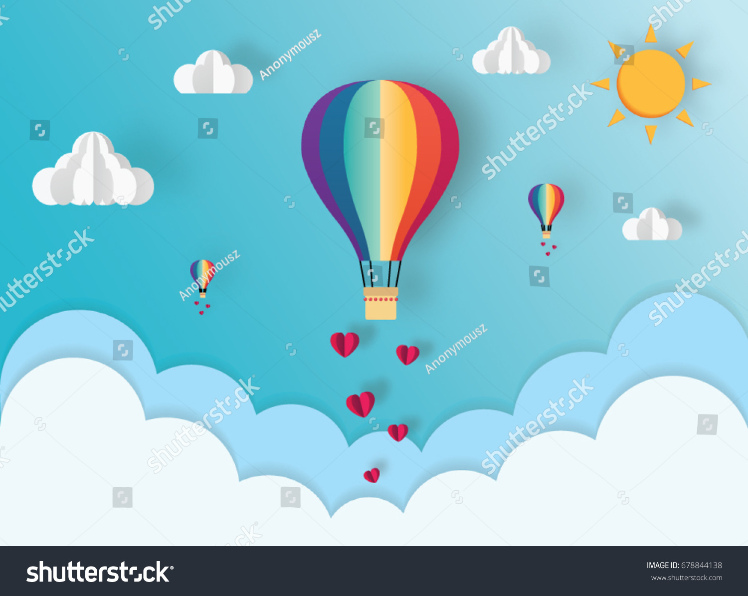 Origami hot air balloon over cloud stock vector 678844138 origami of hot air balloon over the cloud and paper art of heart floating on the jeuxipadfo Choice Image