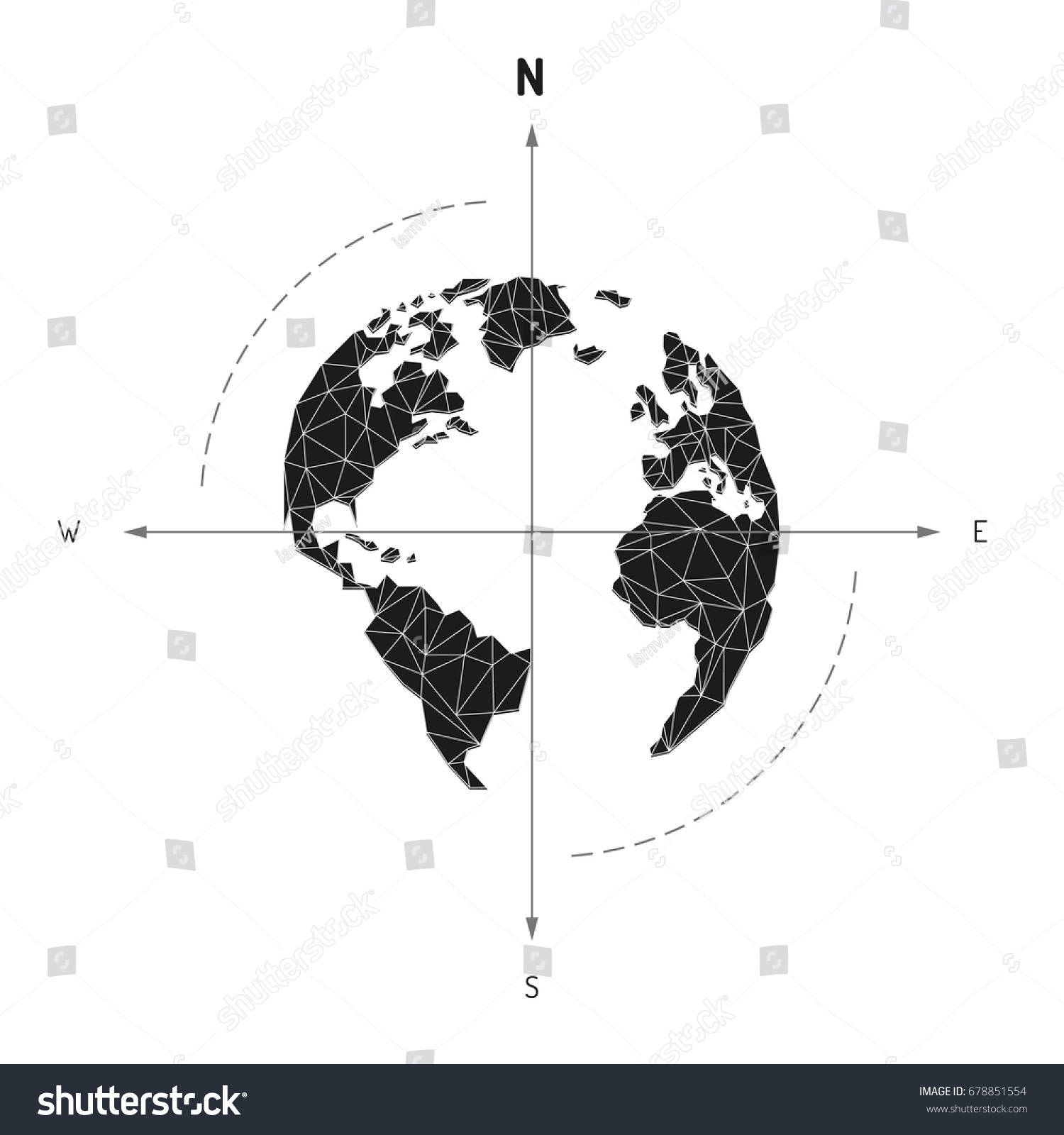 Globe world map compass arrow nautical vectores en stock 678851554 globe world map compass arrow nautical travel america europe atlantic ocean lowpoly triangular gumiabroncs Choice Image