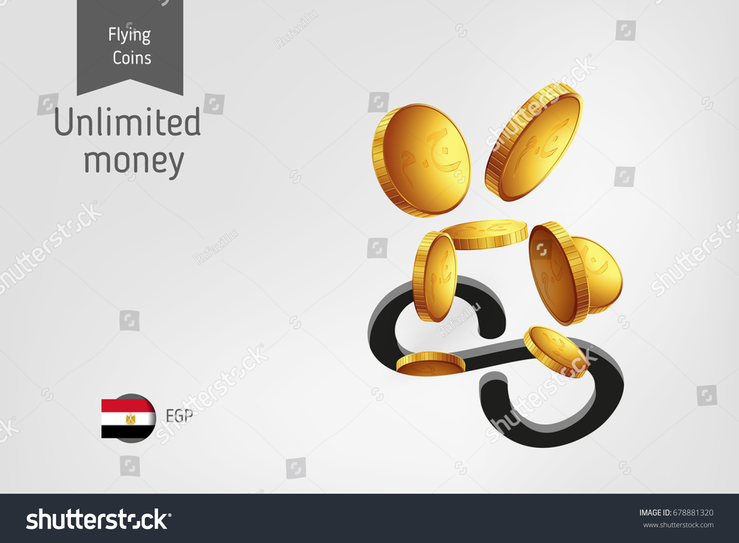 Infinity icon flying egyptian pound coins stock vector 678881320 infinity icon with flying egyptian pound coins finance concept biocorpaavc Images