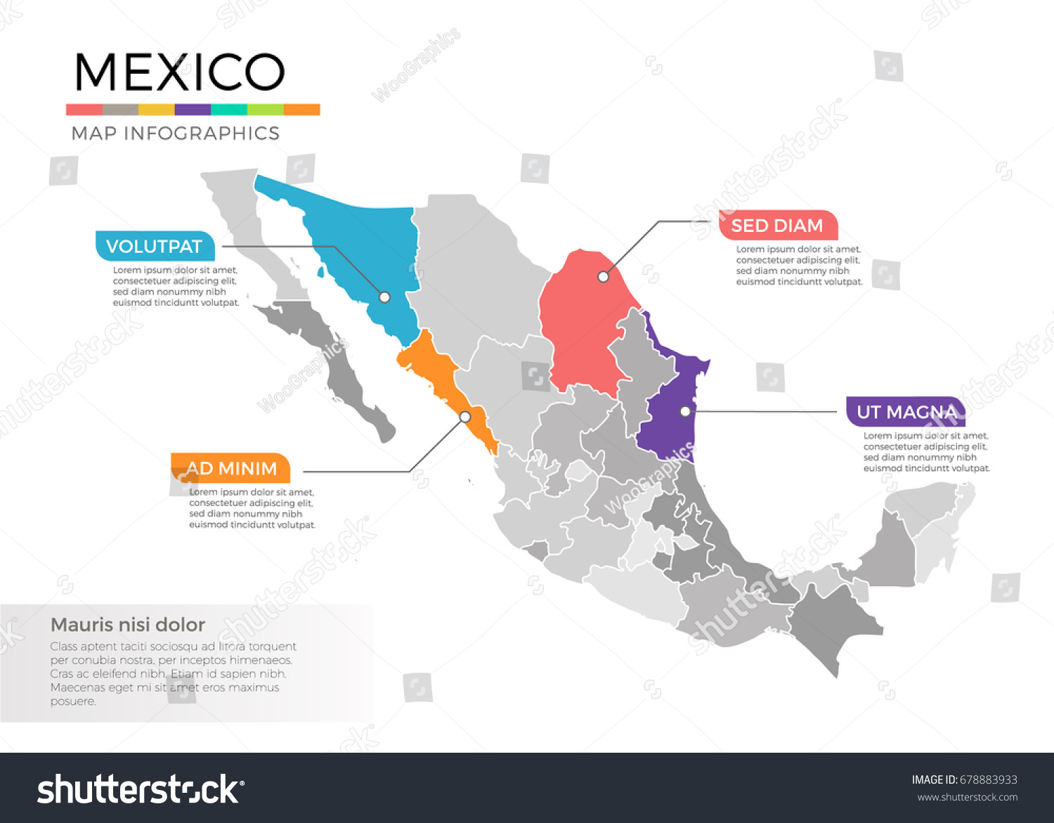 Mexico Map Infographics Vector Template Regions Stock Vector - Mexico regions map