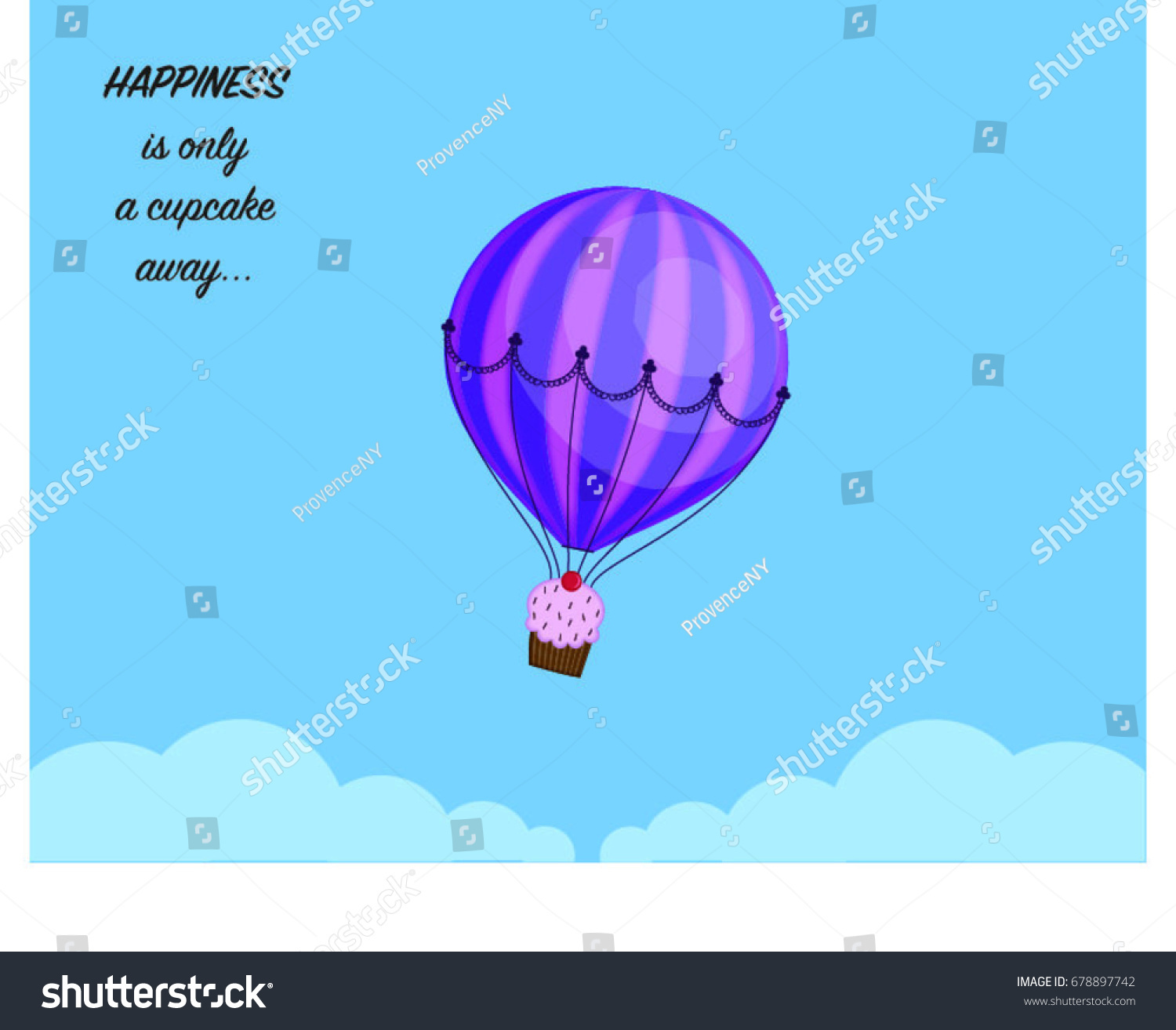 Hot Air Balloon Cupcake Basket Flying Stock Vector Royalty Free