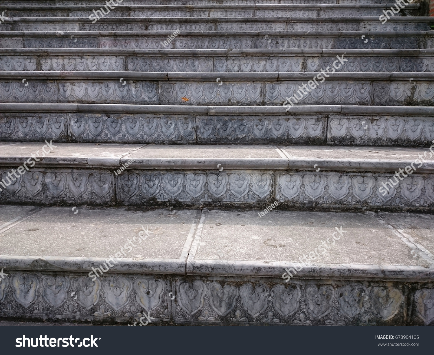 Stone Stair With Carved Grey Steps. Ascending Steps Outdoors In The  Vietnamese Style Pattern.