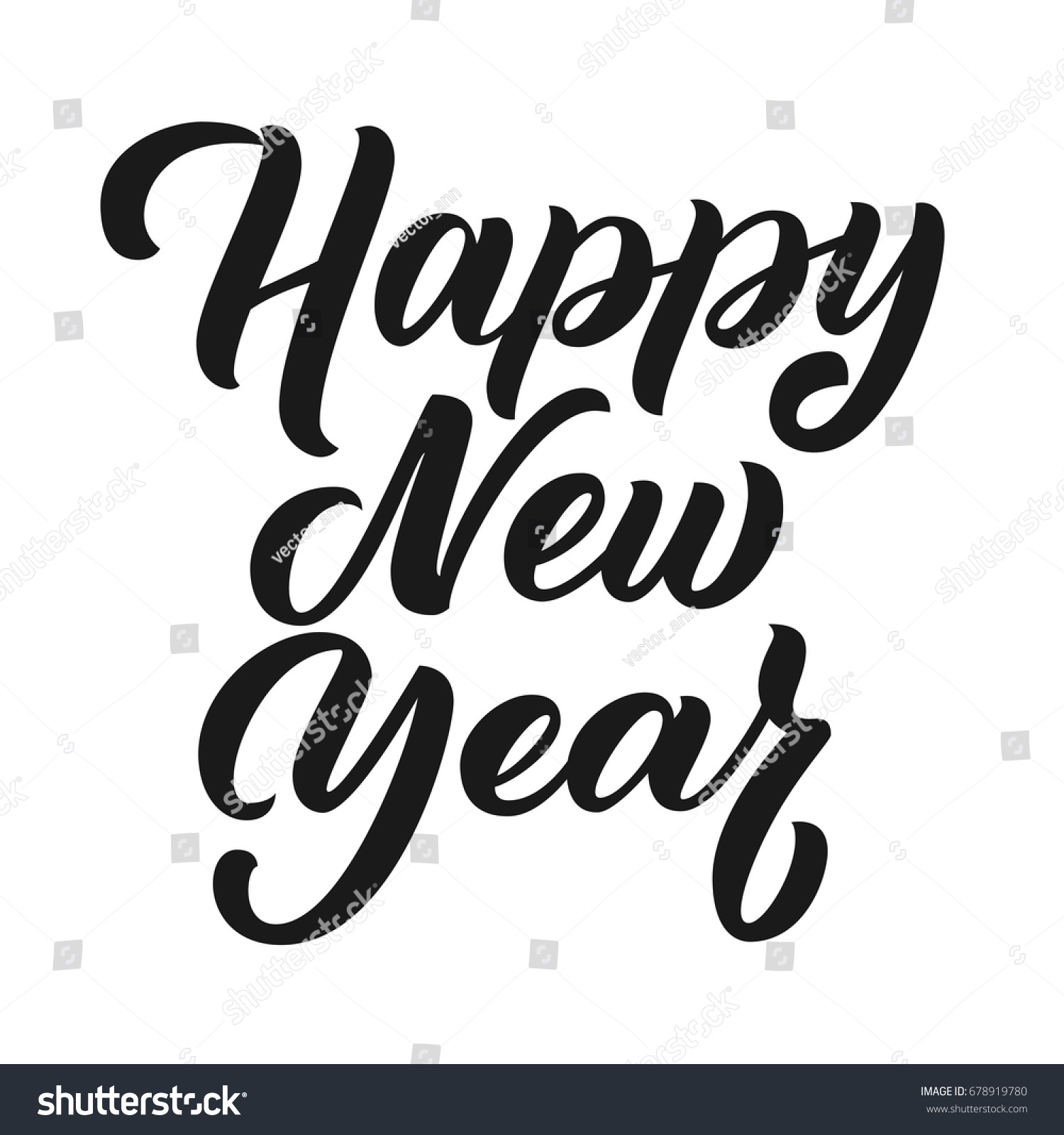 happy new year brush hand lettering isolated on white background vector hand writing illustration