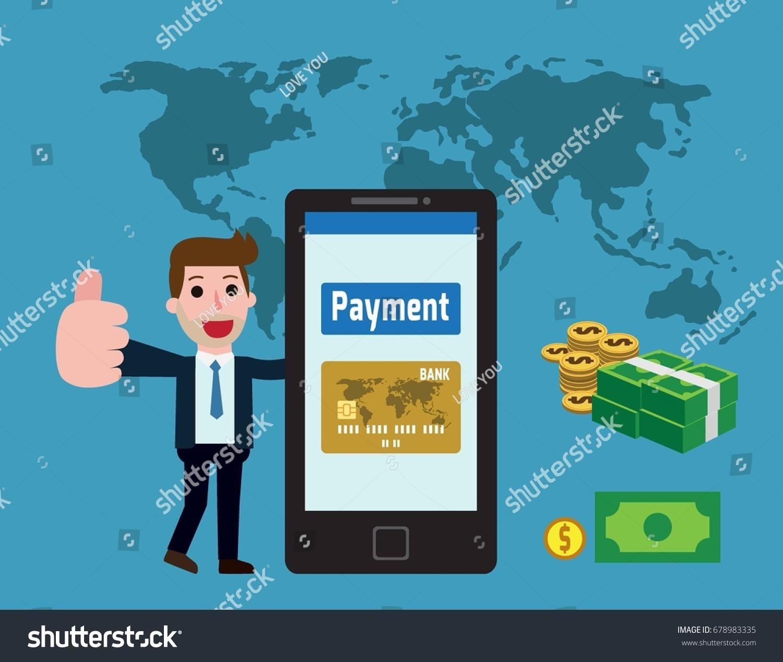 Business team cartoon characters cartoon vector cartoondealer com - Businessman And The Phone Button Payment Internet Technology Payment Concept Vector Flat Cartoon Character