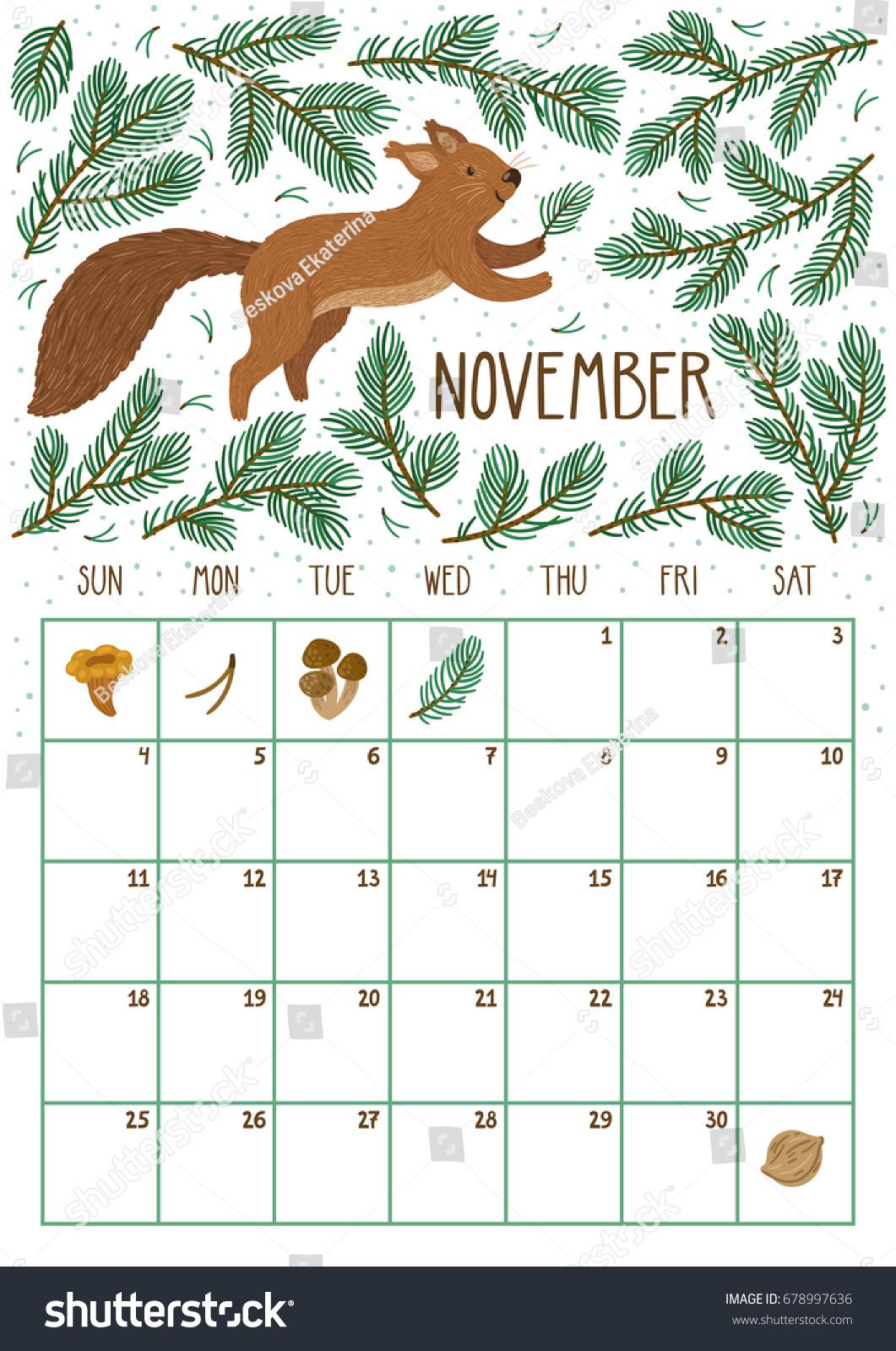 Vector Monthly Calendar Cute Squirrel November Stock Vektorgrafik