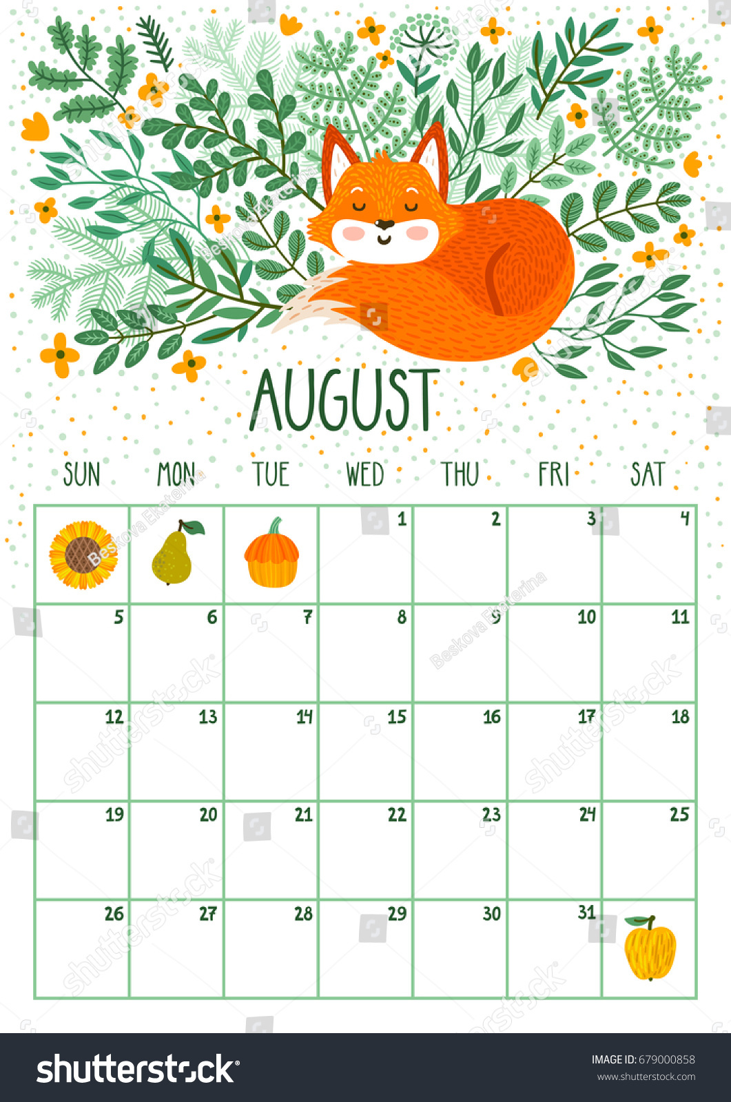 Vector Monthly Calendar Cute Sleeping Fox Stock Vector ...